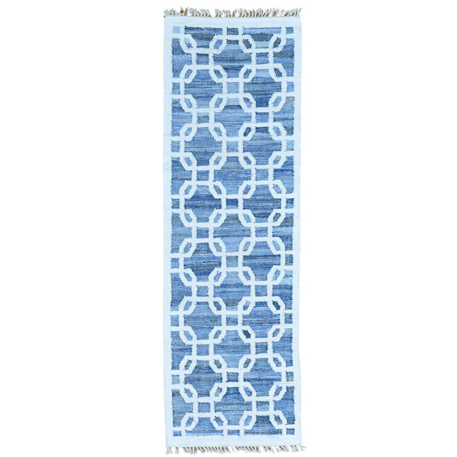 Kilim Hand-Knotted Denim Blue/White Area Rug