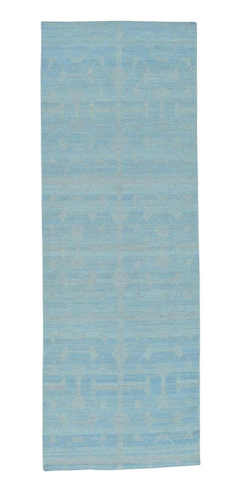 One-of-a-Kind Reversible Flat Weave Durie Kilim Hand-Knotted Sky Blue Area Rug