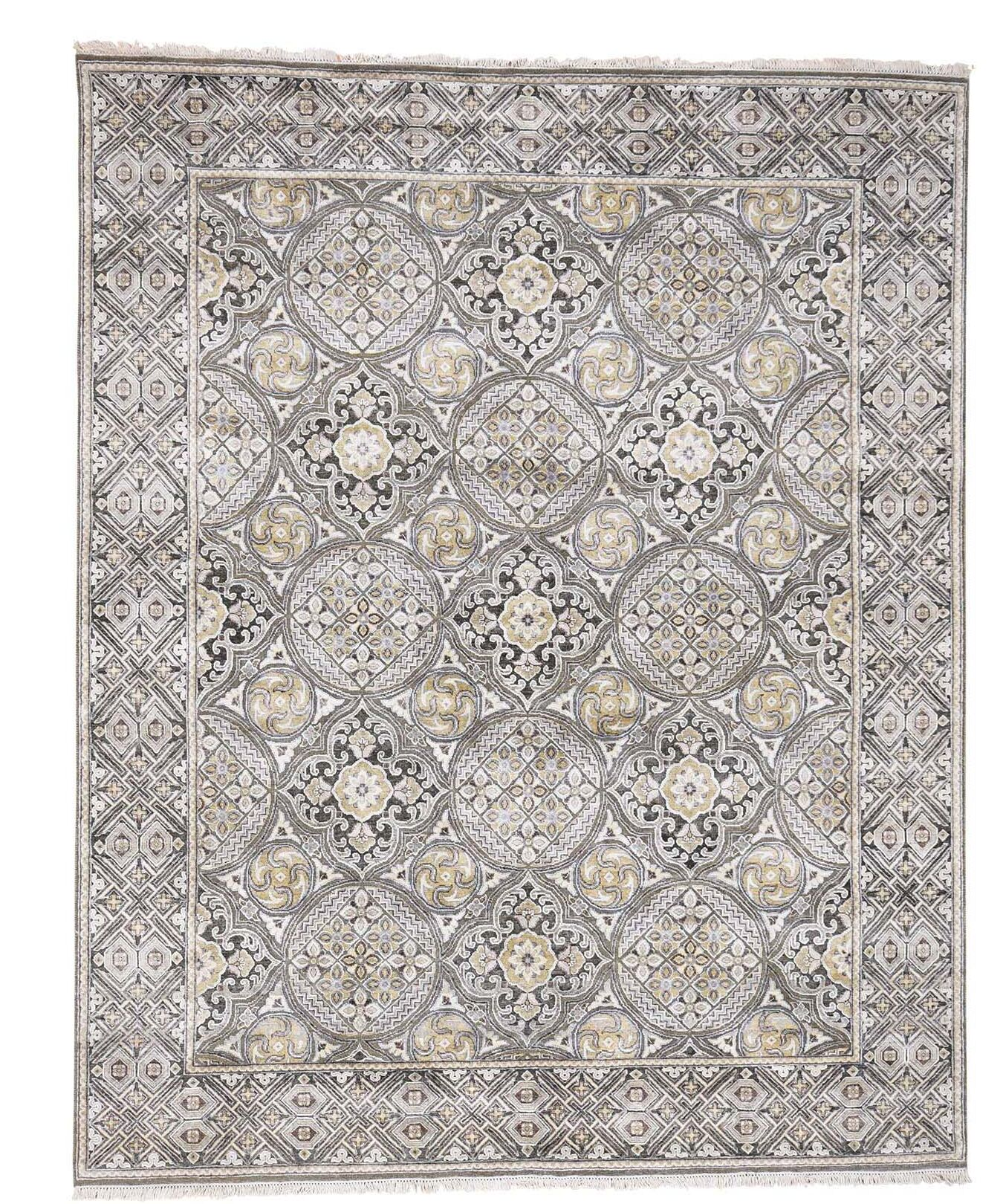 One-of-a-Kind Oidized Mughal Inspi Medallions Hand-Knotted Ivory Area Rug