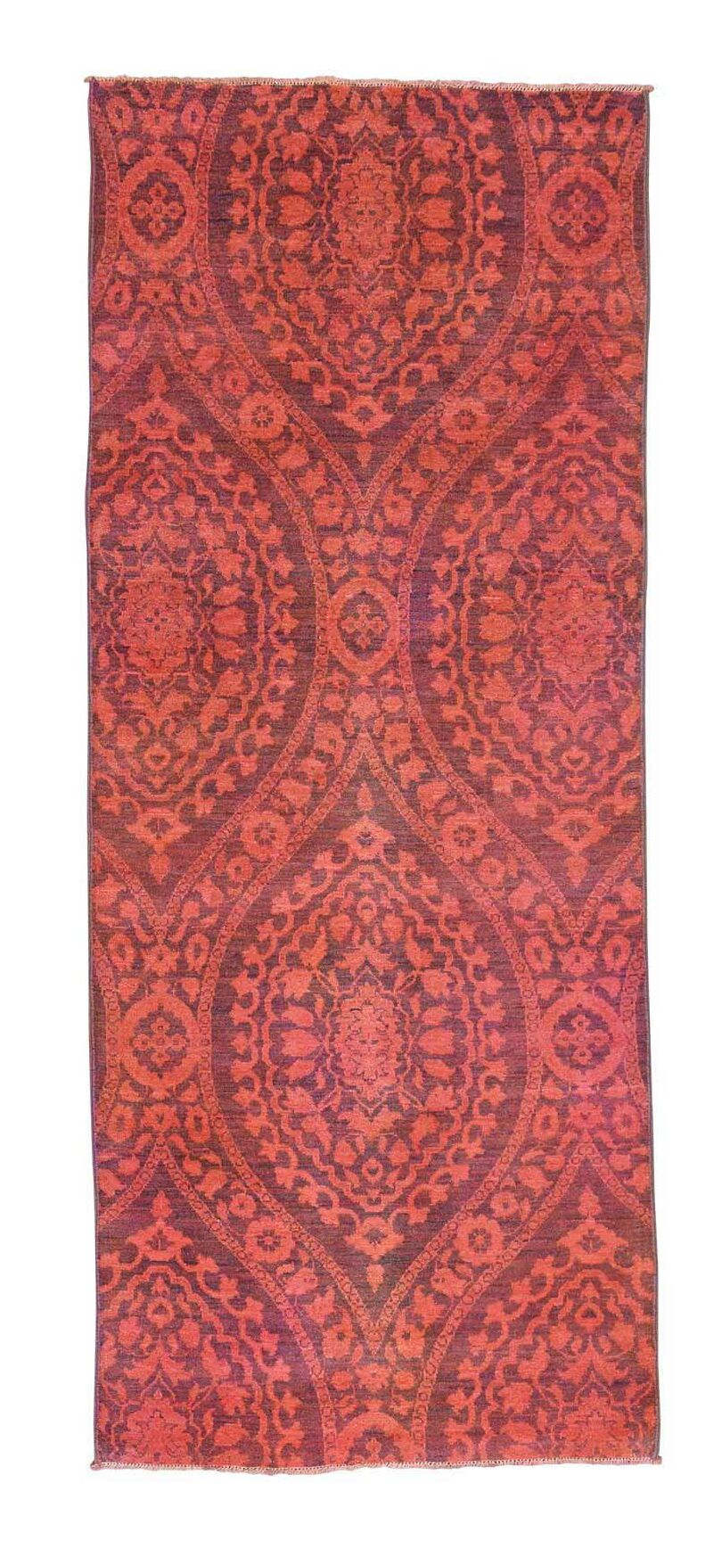 One-of-a-Kind Gowan Damask Overdyed Hand-Knotted Red Area Rug