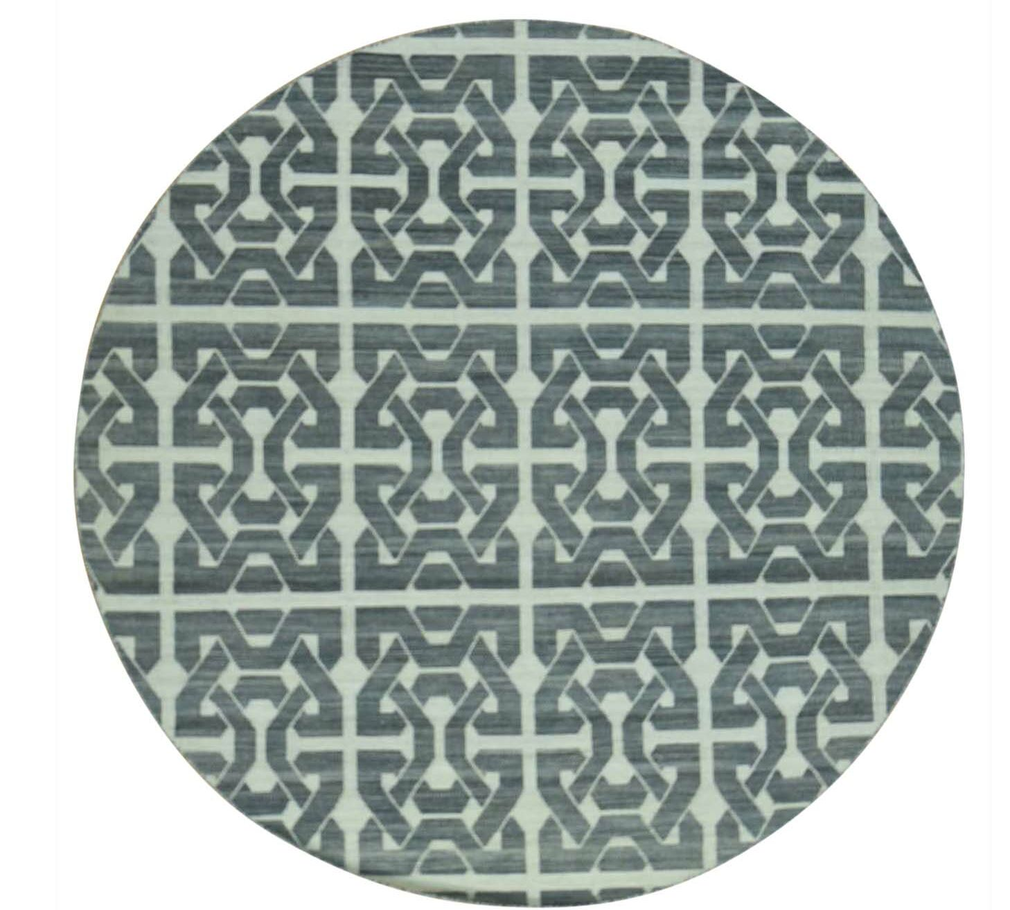One-of-a-Kind Durie Kilim Flat Weave Reversible Hand-Knotted Black/Ivory Area Rug