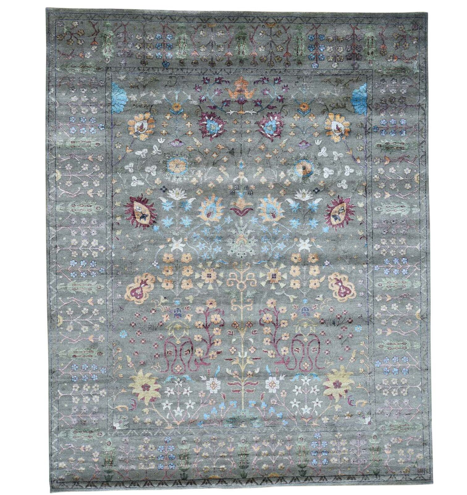 One-of-a-Kind Crafts Hand-Knotted Gray Area Rug