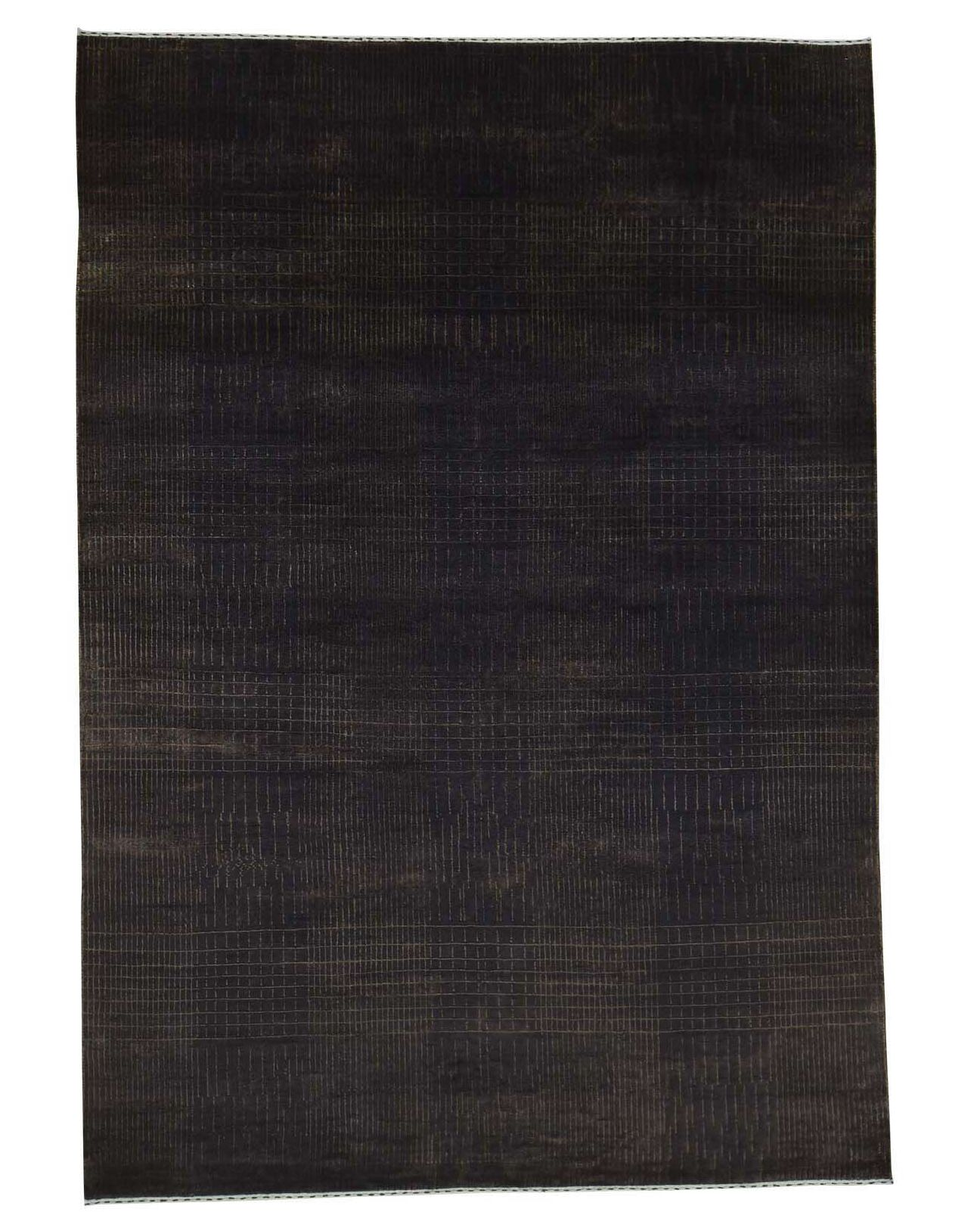 Nepali Hand-Knotted Chocolate Brown Area Rug