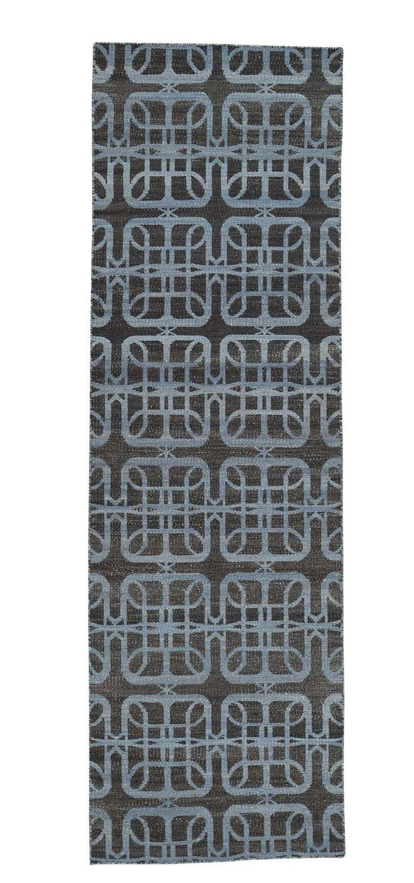 Durie Kilim Reversible Flat Weave Hand-Knotted Silver Blue/Chocolate Brown Area Rug