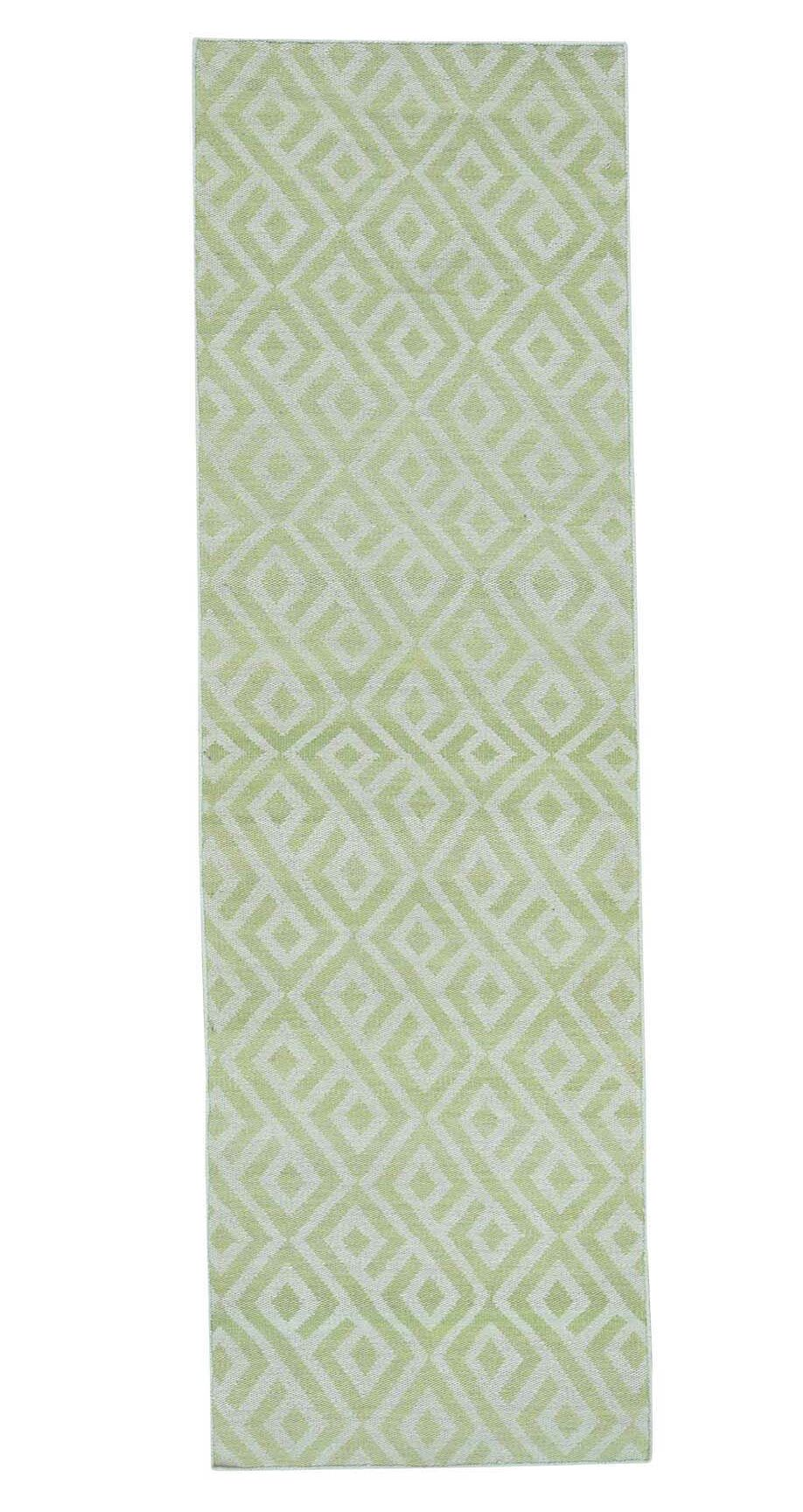 Reversible Kilim Flat Weave Hand-Knotted Light Green/Ivory Area Rug