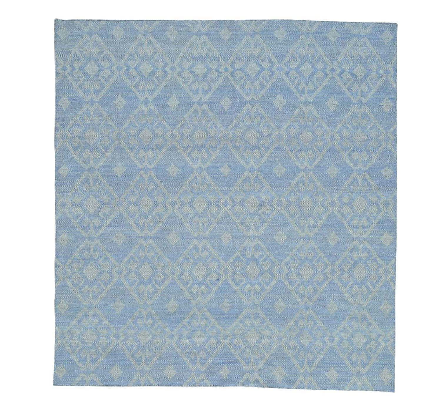 Flat Weave Reversible Durie Kilim Squarish Hand-Knotted Sky Blue Area Rug