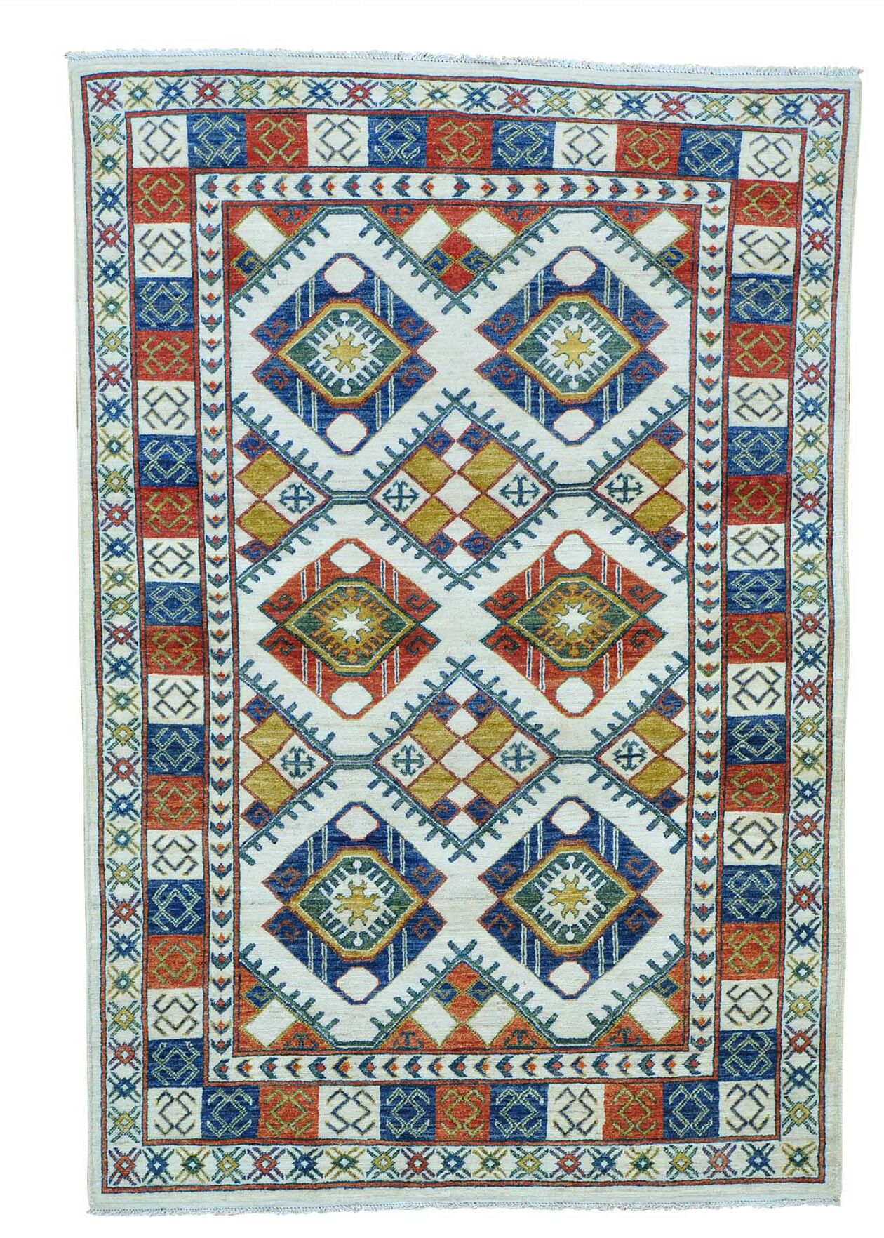One-of-a-Kind Repetitive Afghan Ersari Hand-Knotted Ivory/Gold Area Rug