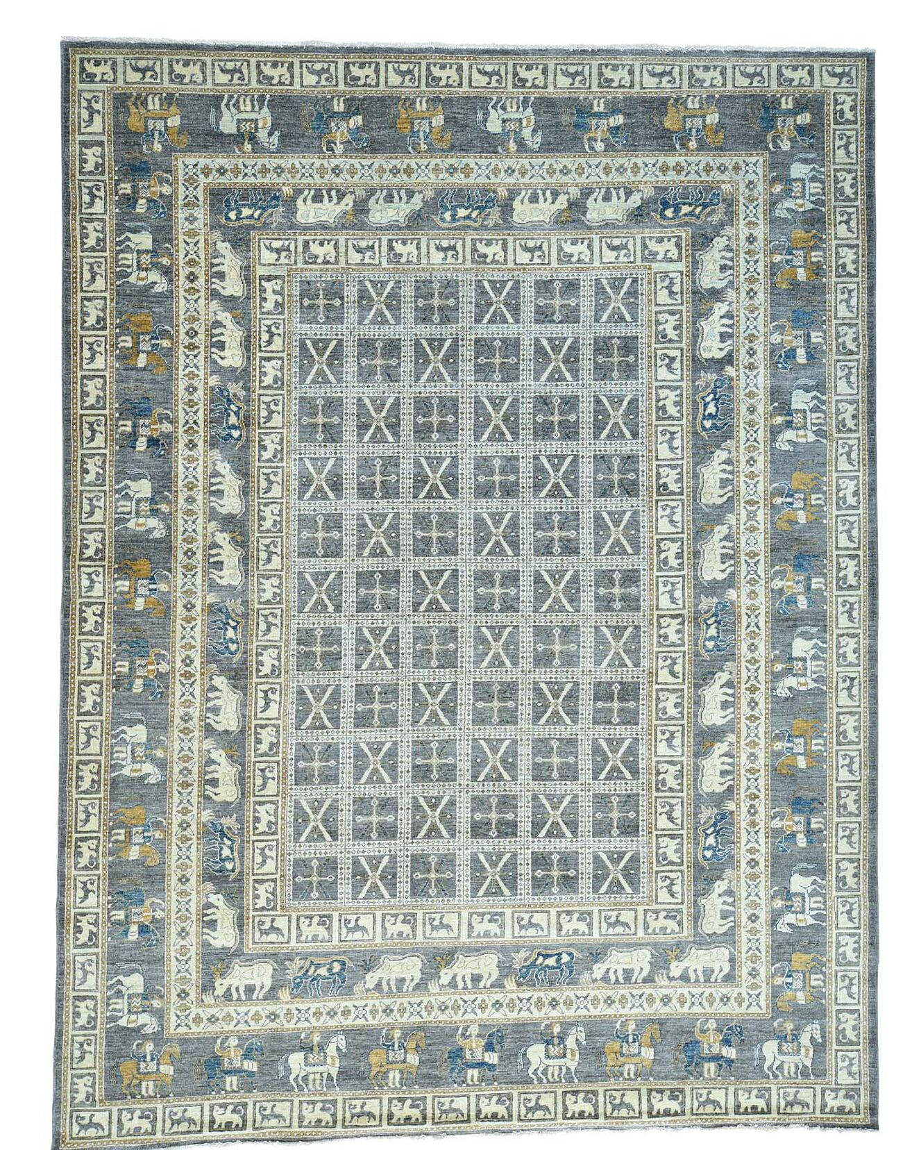 One-of-a-Kind Pazyryk Hand-Knotted Gray Area Rug
