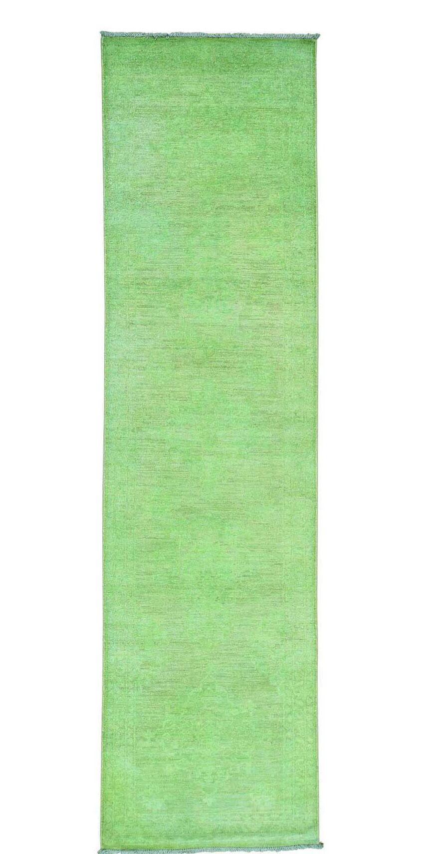 One-of-a-Kind Zuzanna Overdyed Hand-Knotted Green Area Rug