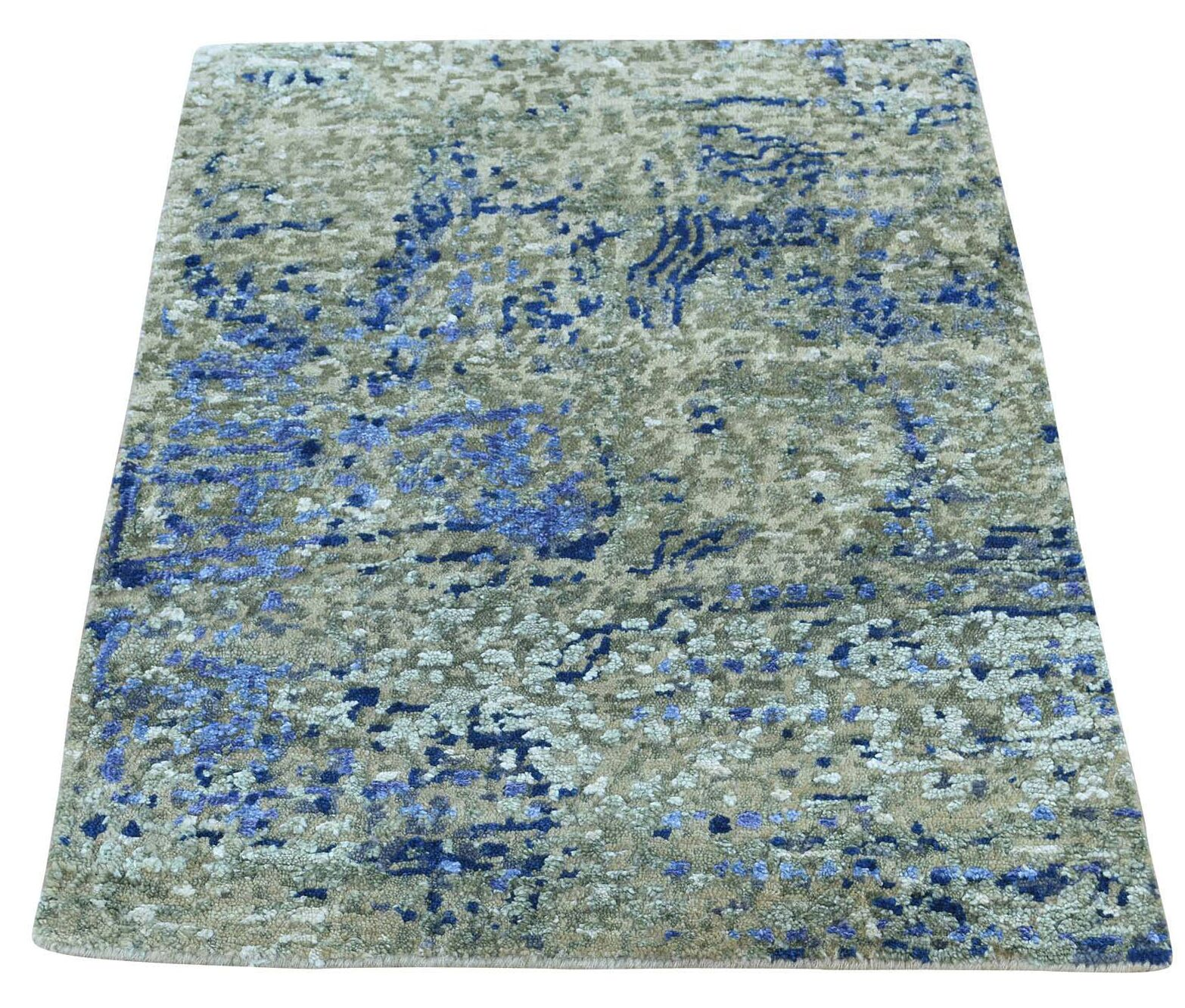 One-of-a-Kind Hi and Lo Abstract Hand-Knotted Denim Blue/Beige Area Rug