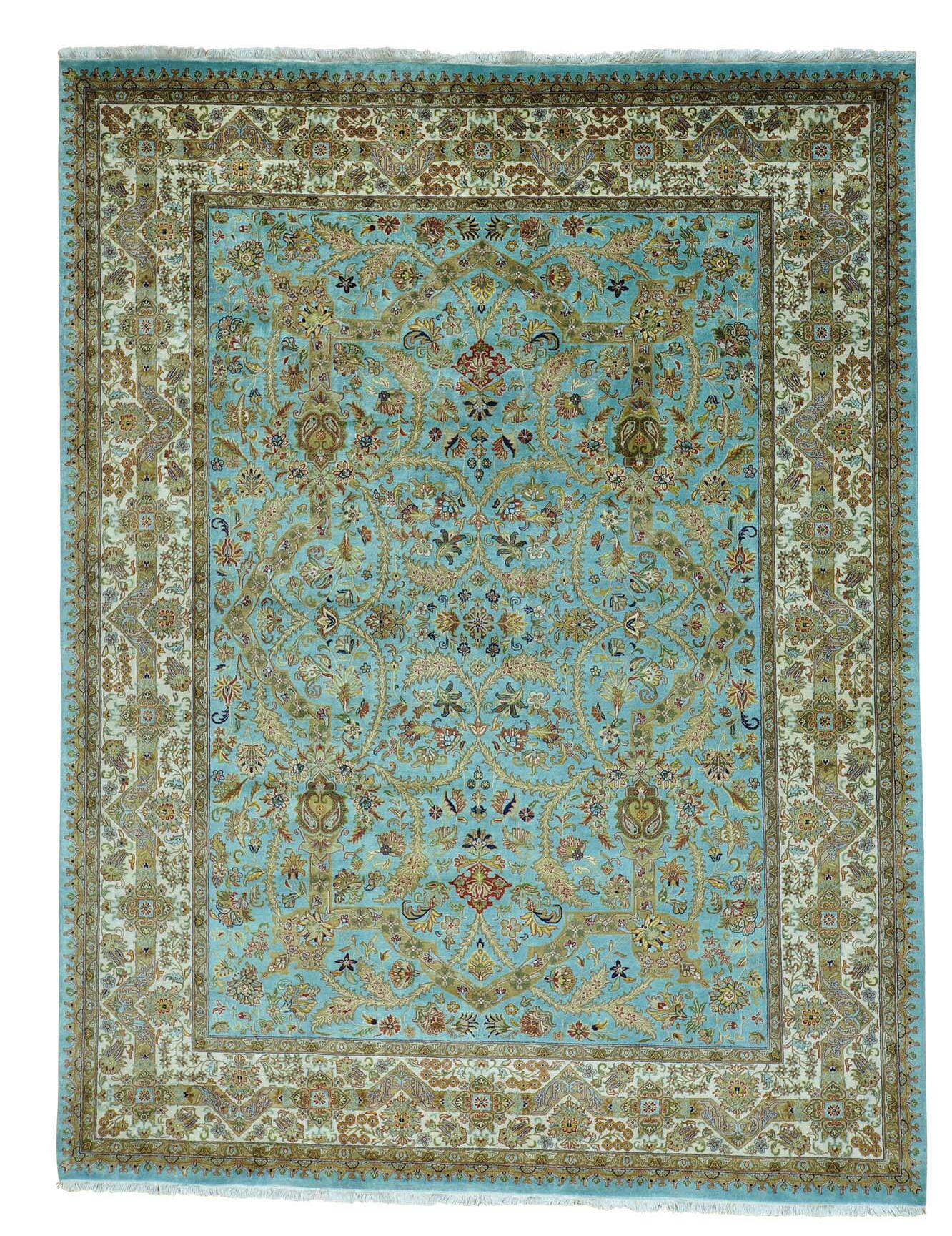 One-of-a-Kind Samons Revival Hand-Knotted Blue Area Rug
