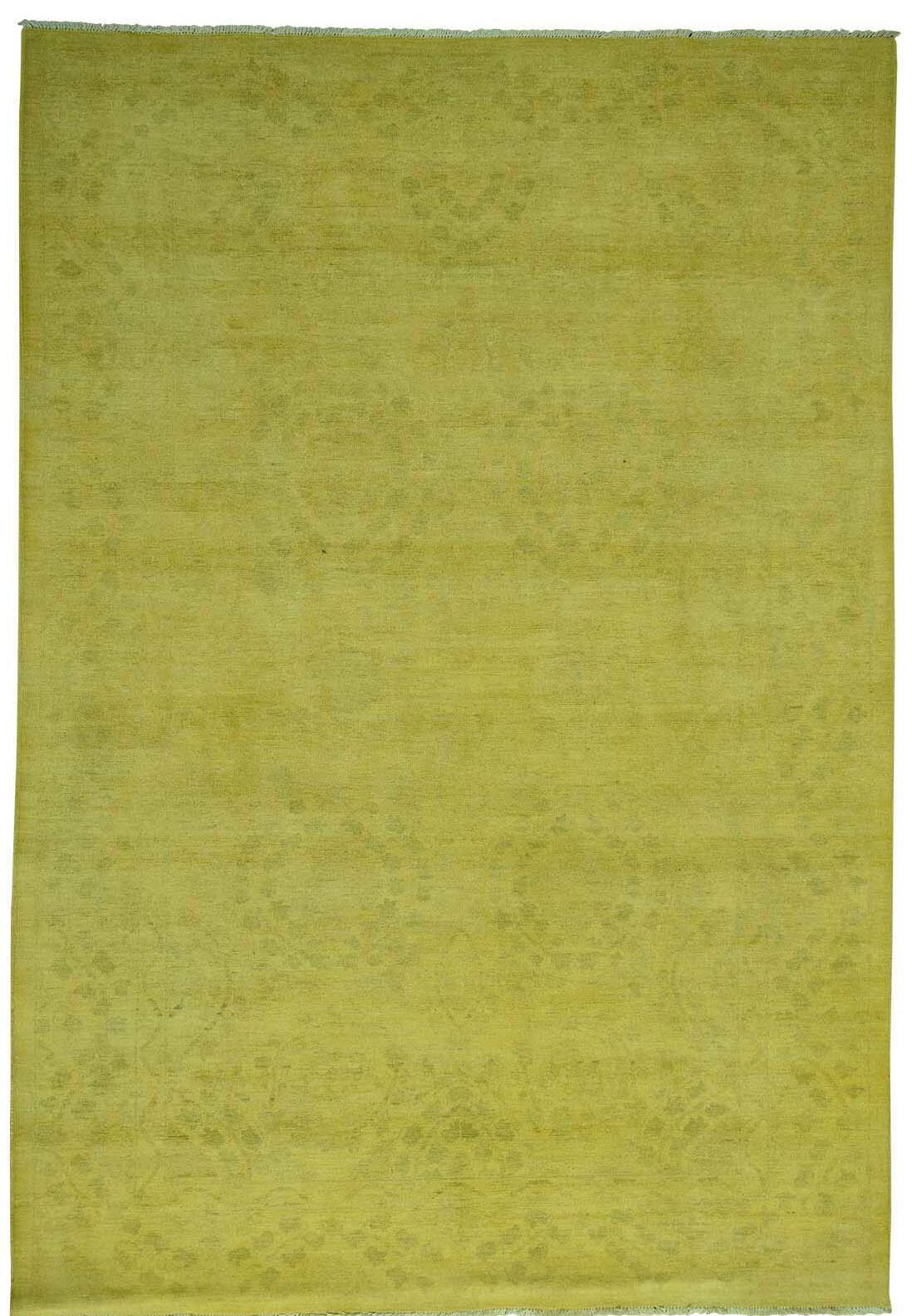 One-of-a-Kind Melodi Overdyed Hand-Knotted Yellow Area Rug