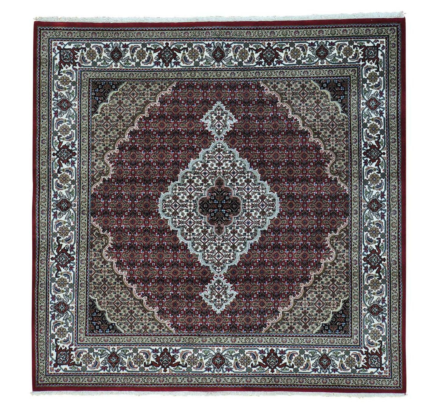 One-of-a-Kind Salmons Mahi All Over Hand-Knotted Red Area Rug