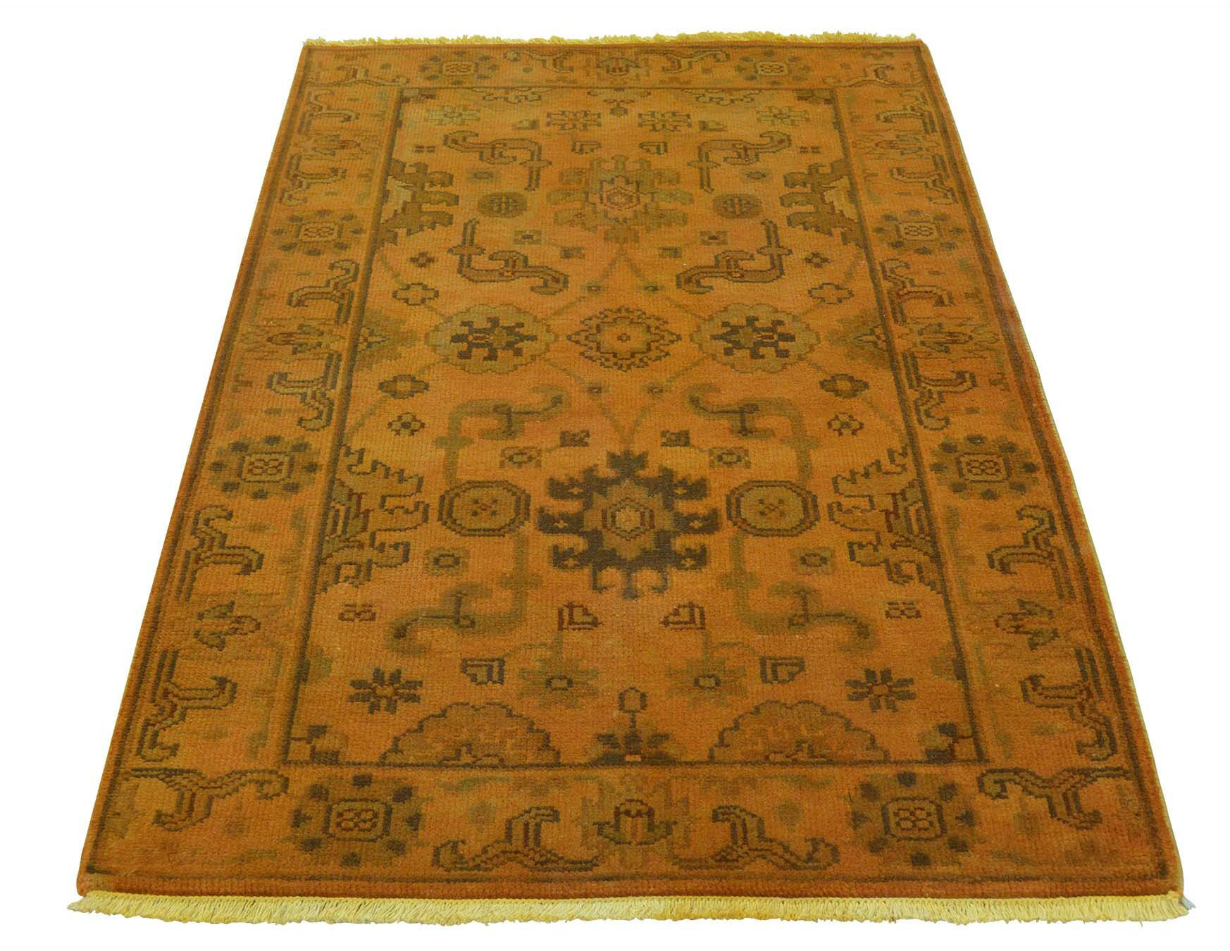 One-of-a-Kind Kating Vintage Overdyed Hand-Knotted Burnt Orange Area Rug