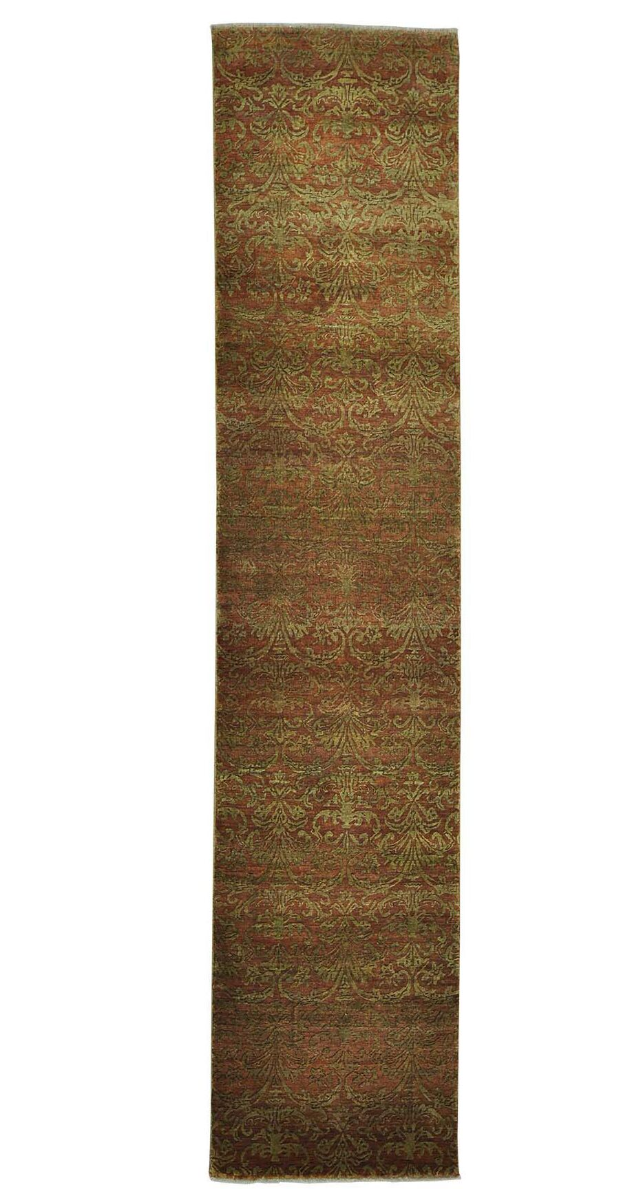 Damask Tone on Tone Hand-Knotted Brown Area Rug