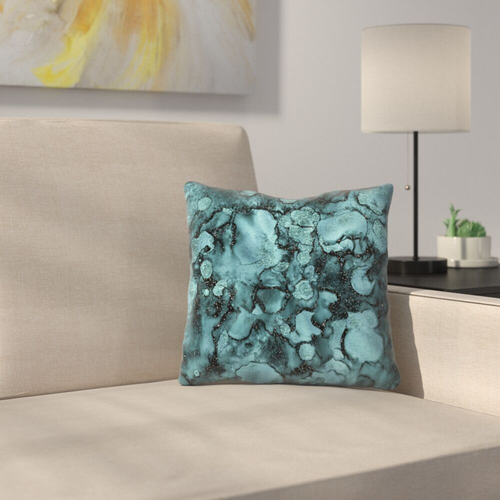 Shiny Malachite Marble Agate with Glitter Throw Pillow Size: 16