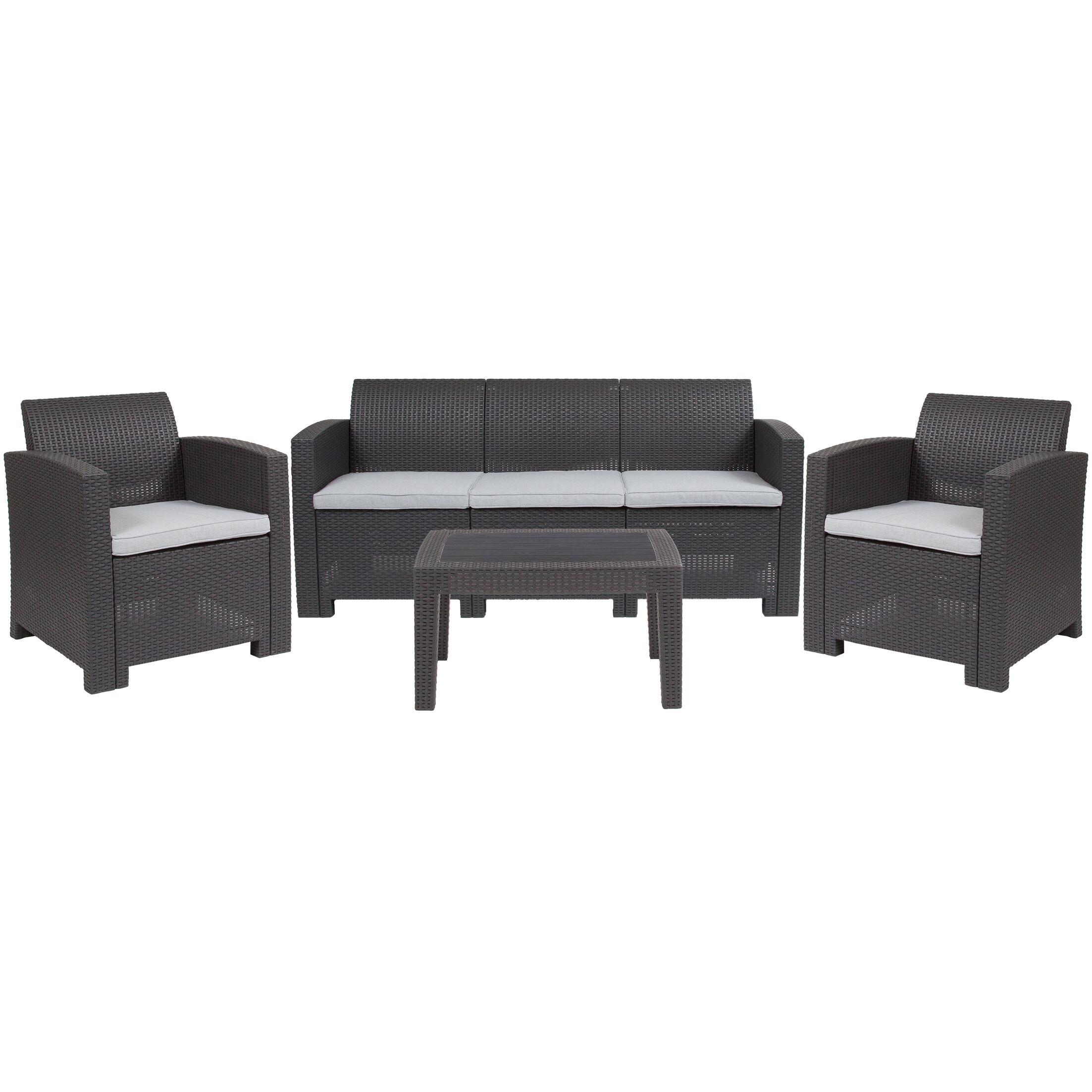 Fairbanks 4 Piece Rattan Conversation Set with Cushions
