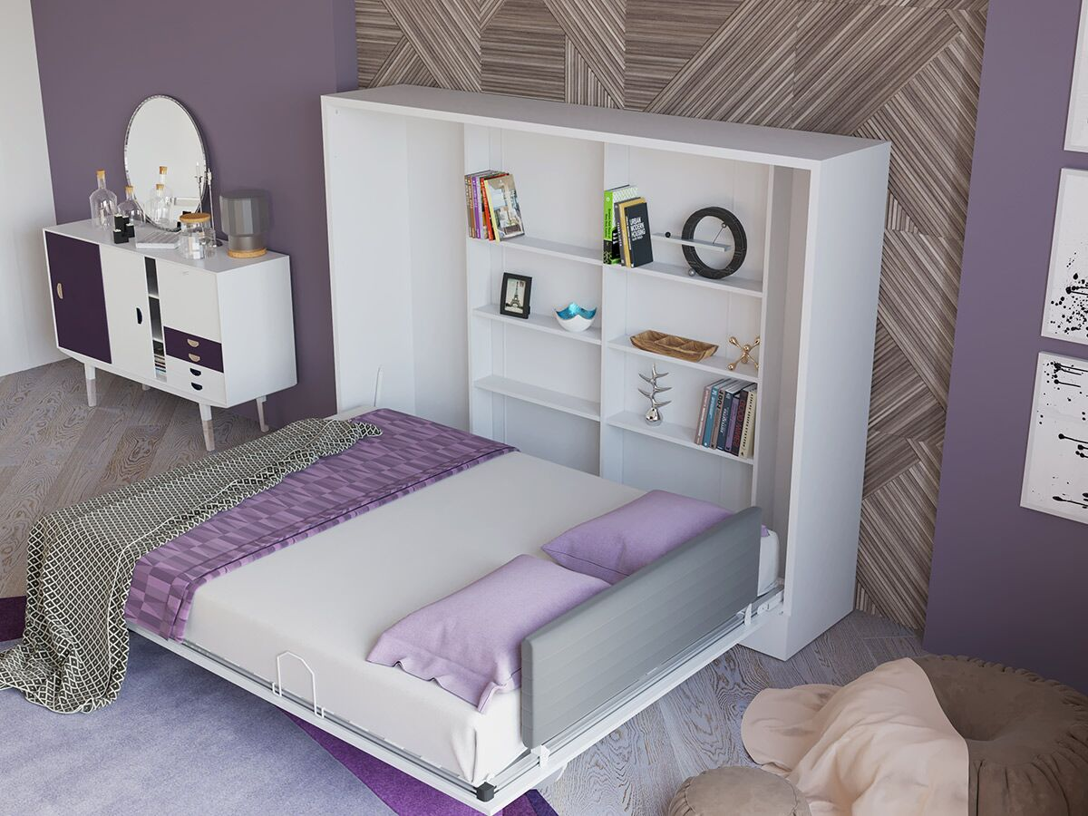 Hansell Queen Storage Murphy Bed Color: High gloss white