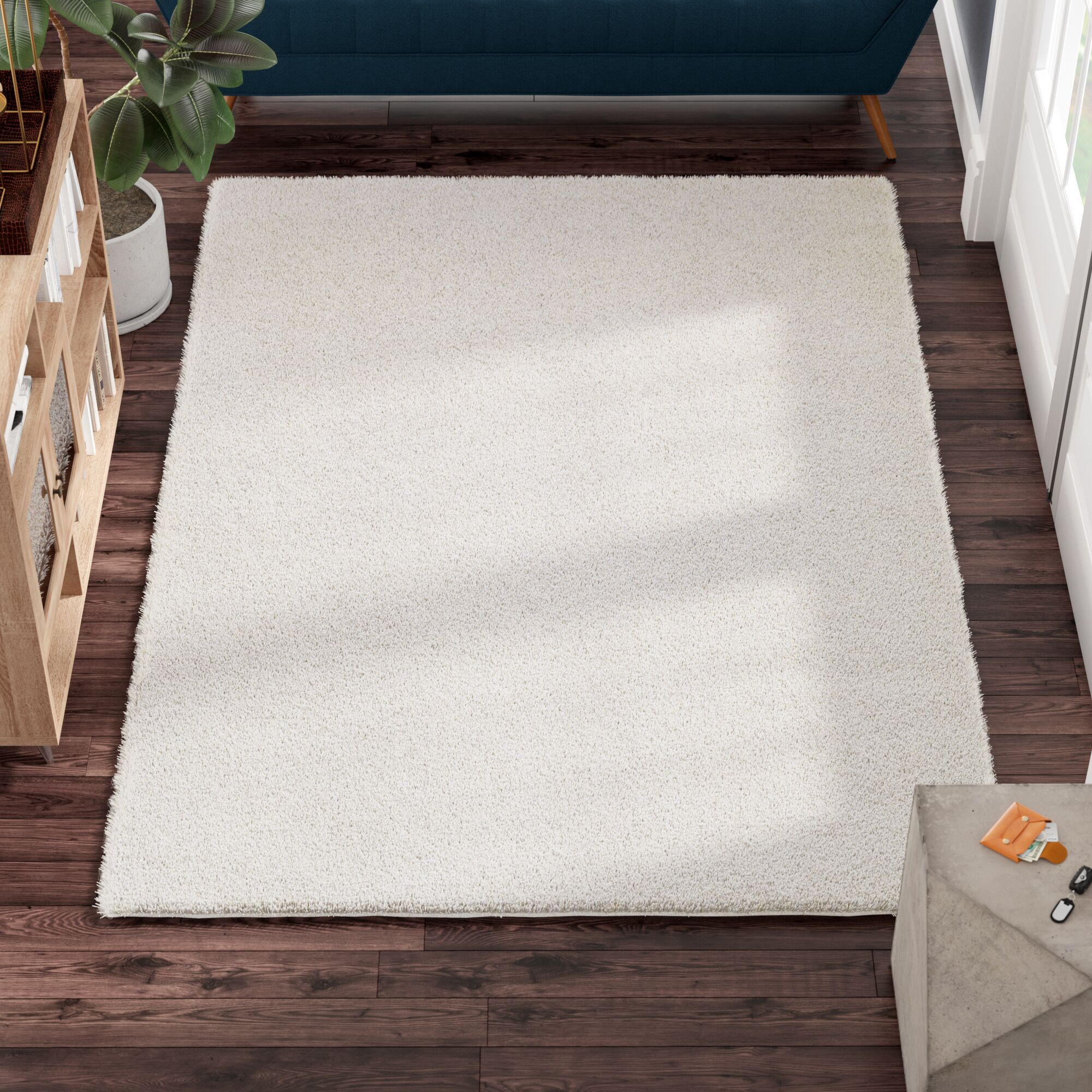 Melodee Shag White Area Rug Rug Size: Square 6' x 6'