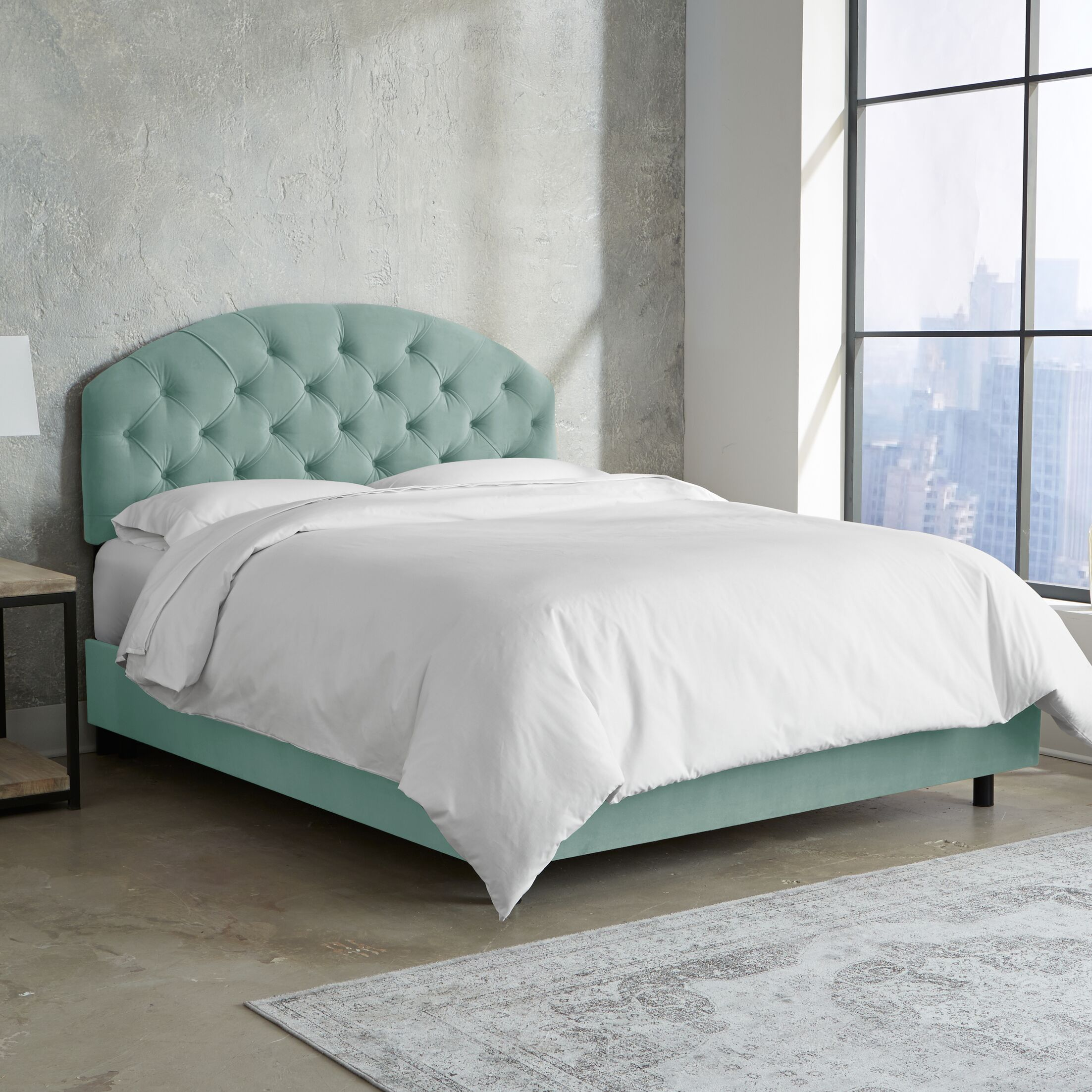 Morvant Tufted Arched Upholstered Panel Bed Size: California King, Color: Caribbean