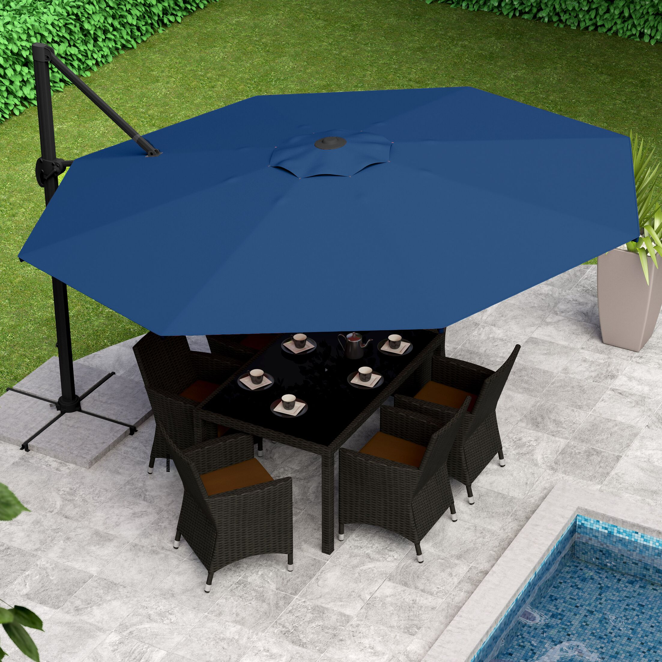 Gribble 11' Cantilever Umbrella Fabric Color: Cobalt Blue
