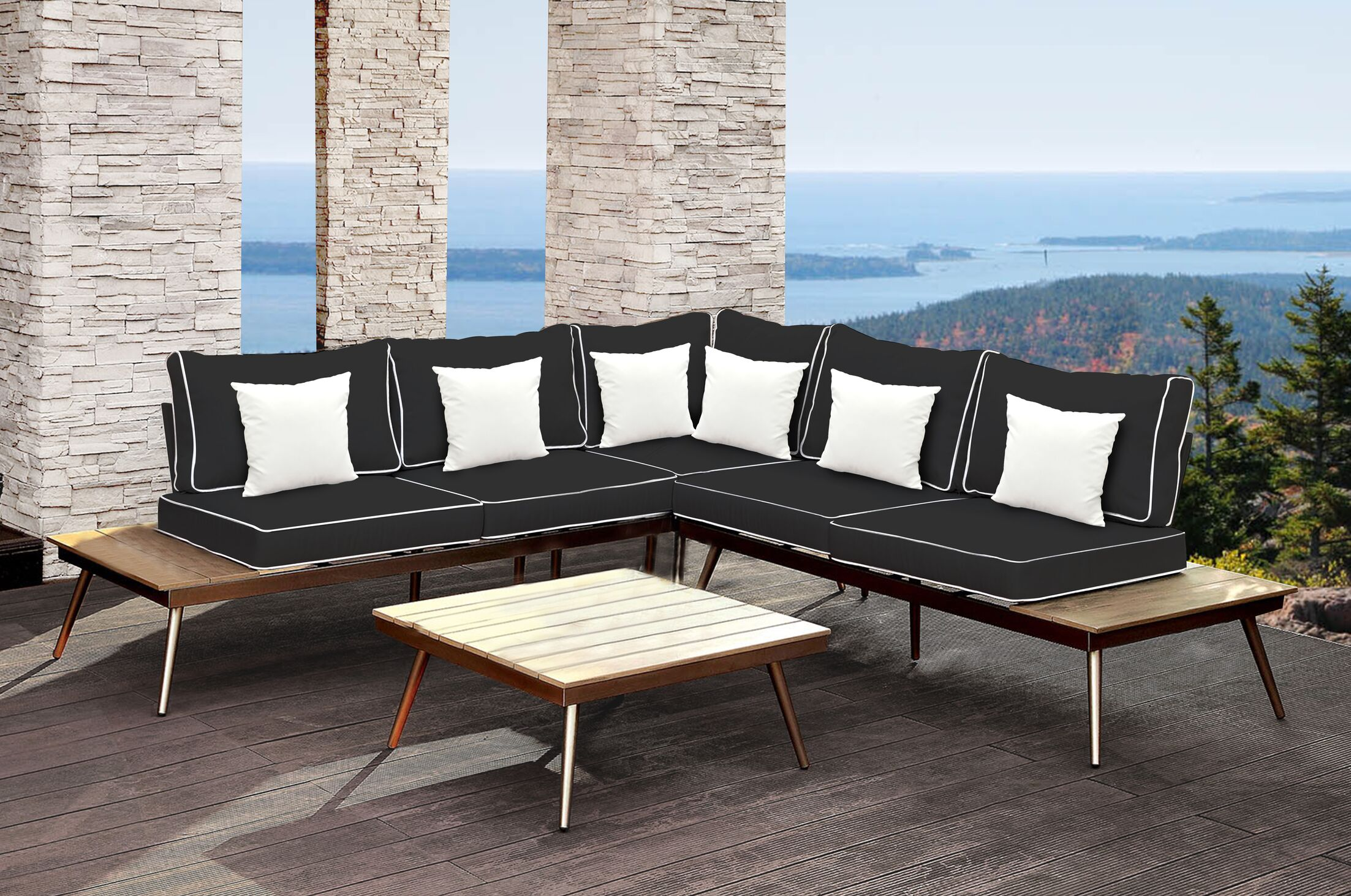 Wisner Outdoor Modular 3 Piece Sectional Set with Cushions Cushion Color: Black/White, Accent Pillow Fabric: White Solid