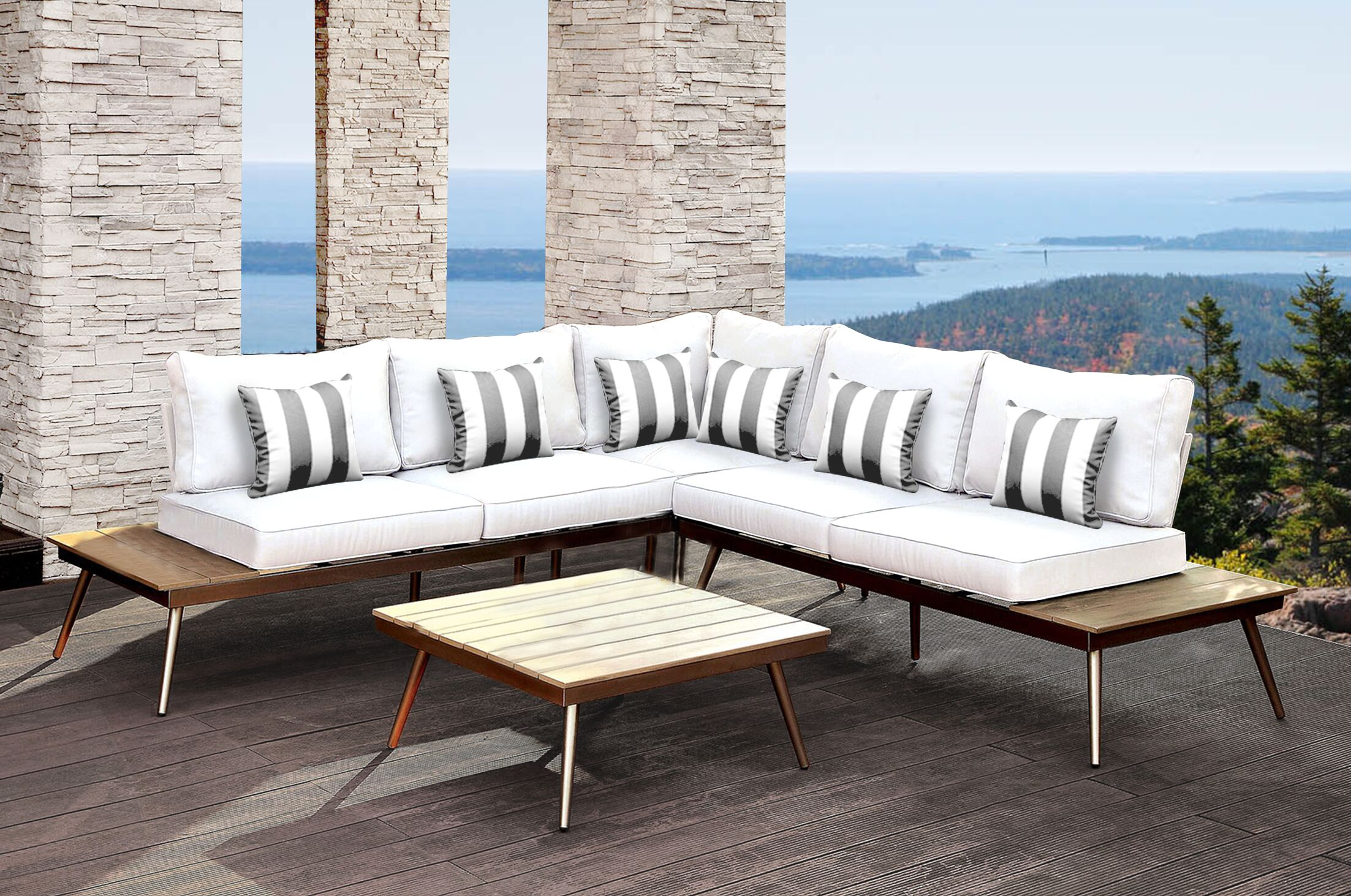 Wisner Outdoor Modular 3 Piece Sectional Set with Cushions Accent Pillow Fabric: Gray/White Stripe, Cushion Color: White/Gray