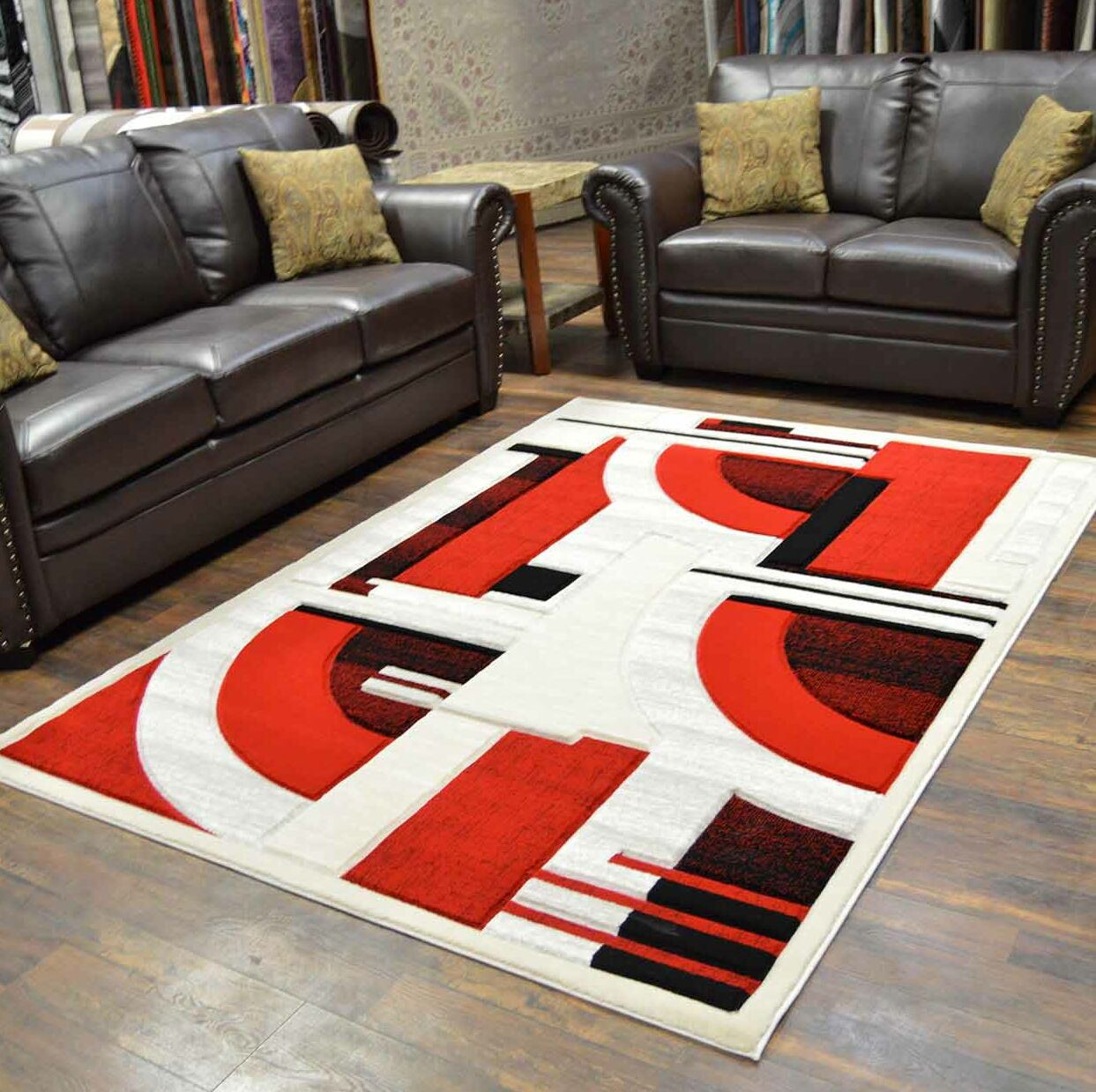 Mccampbell 3D Modern Contemporary Abstract Black/Cream/Red Area Rug