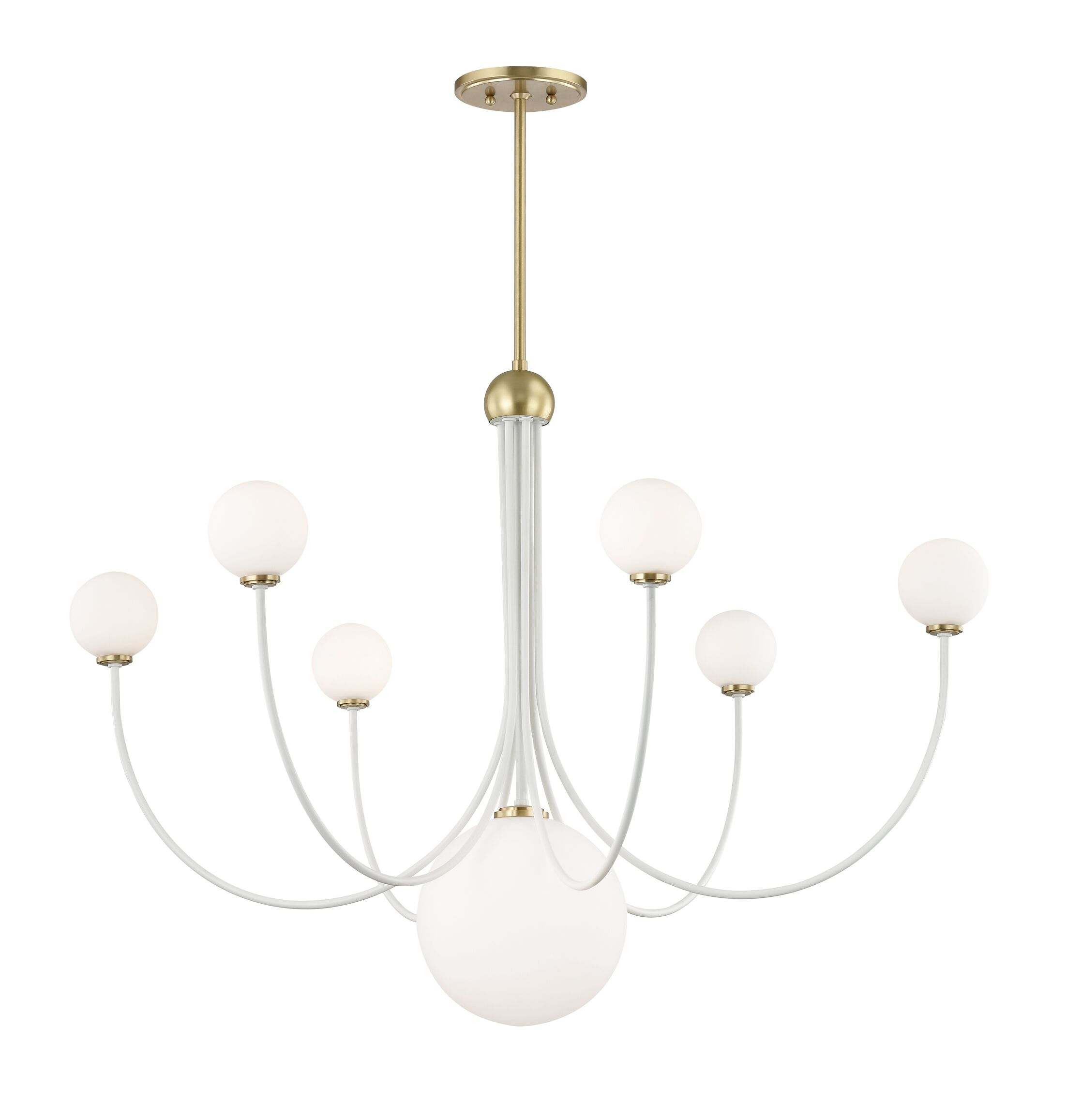 Torrence 7-Light Shaded Chandelier Finish: Aged Brass/White