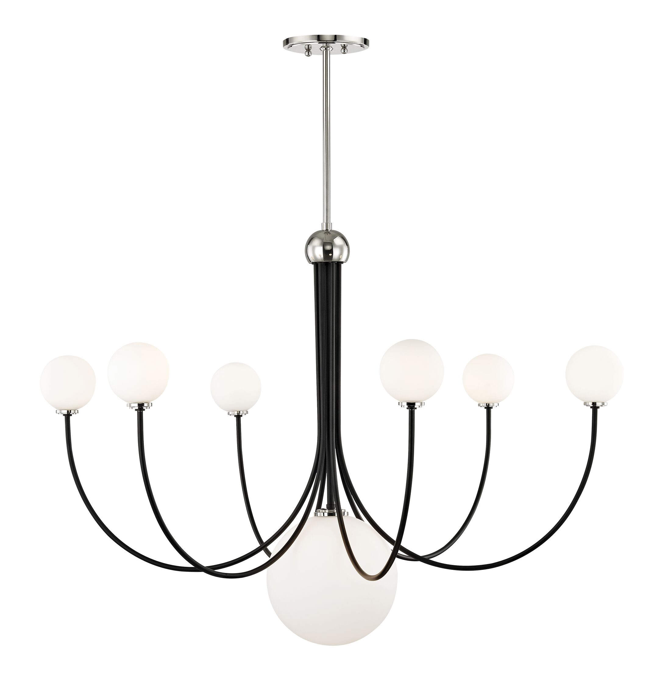 Torrence 7-Light Shaded Chandelier Finish: Polished Nickel/Black