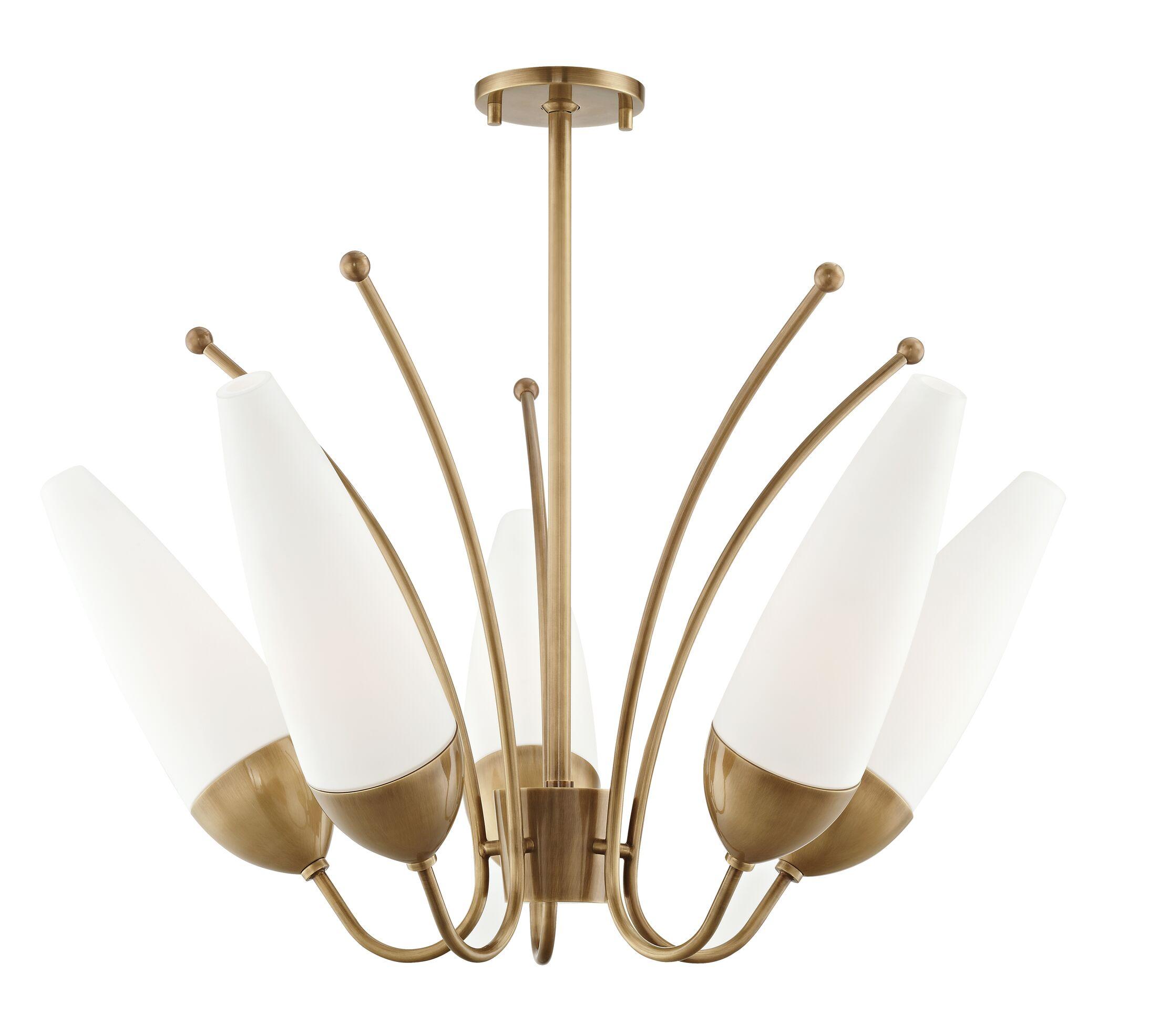 Despres 5-Light Shaded Chandelier Finish: Aged Brass