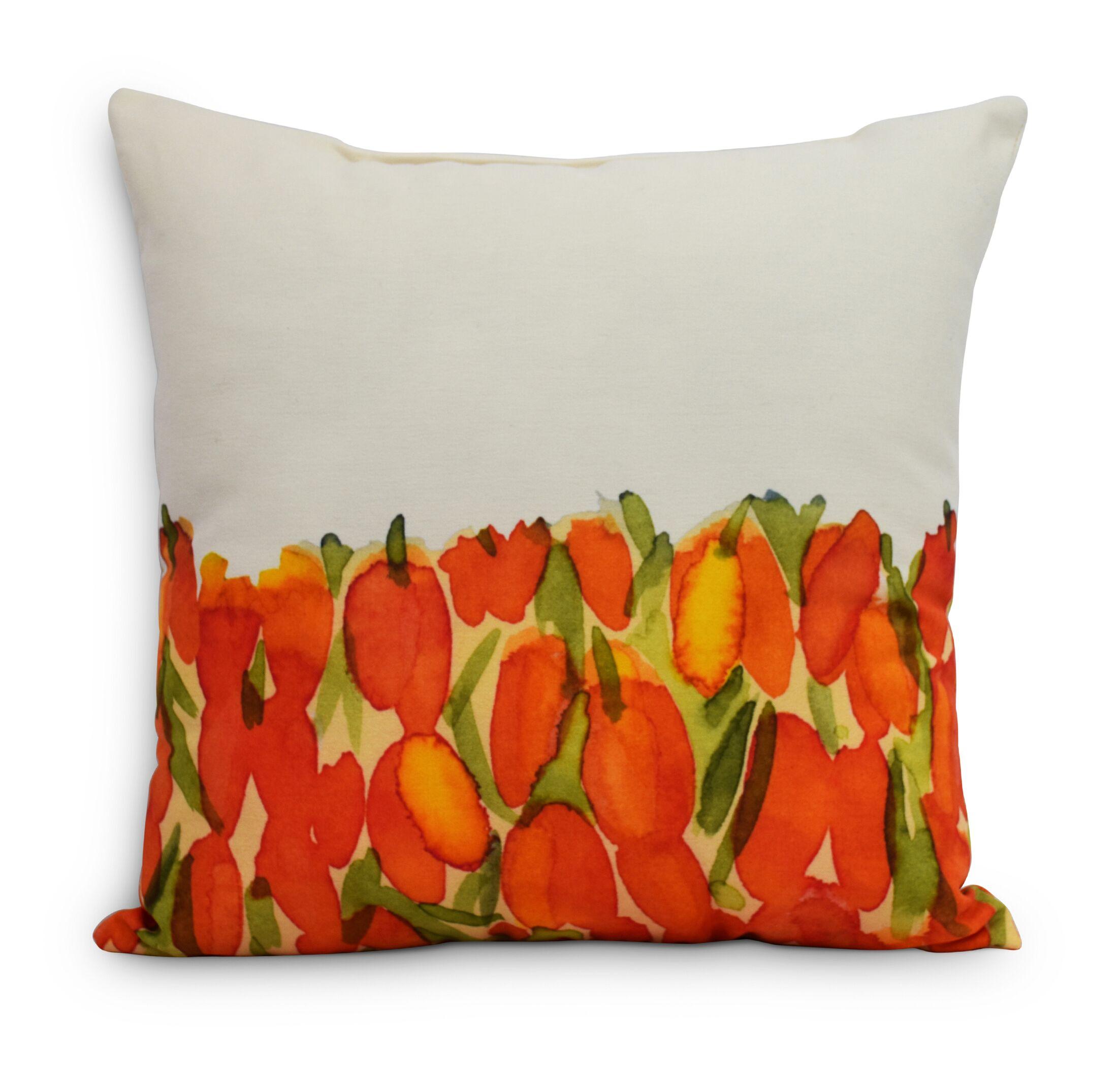 Quast Tulip Throw Pillow Color: Orange, Size: Small, Location: Indoor