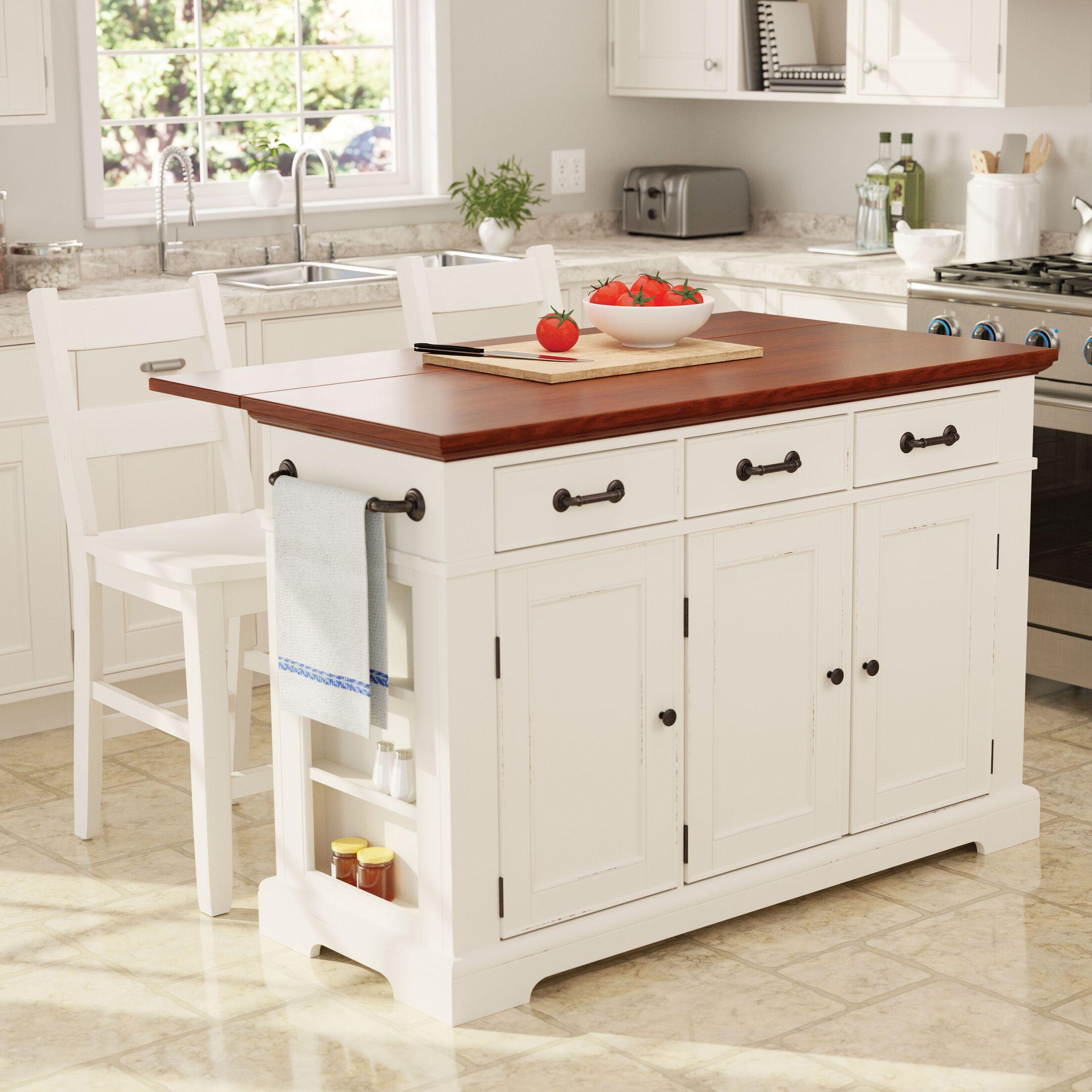Hewish Kitchen Island Set Finish: Distressed White/Vintage Oak with White Stools