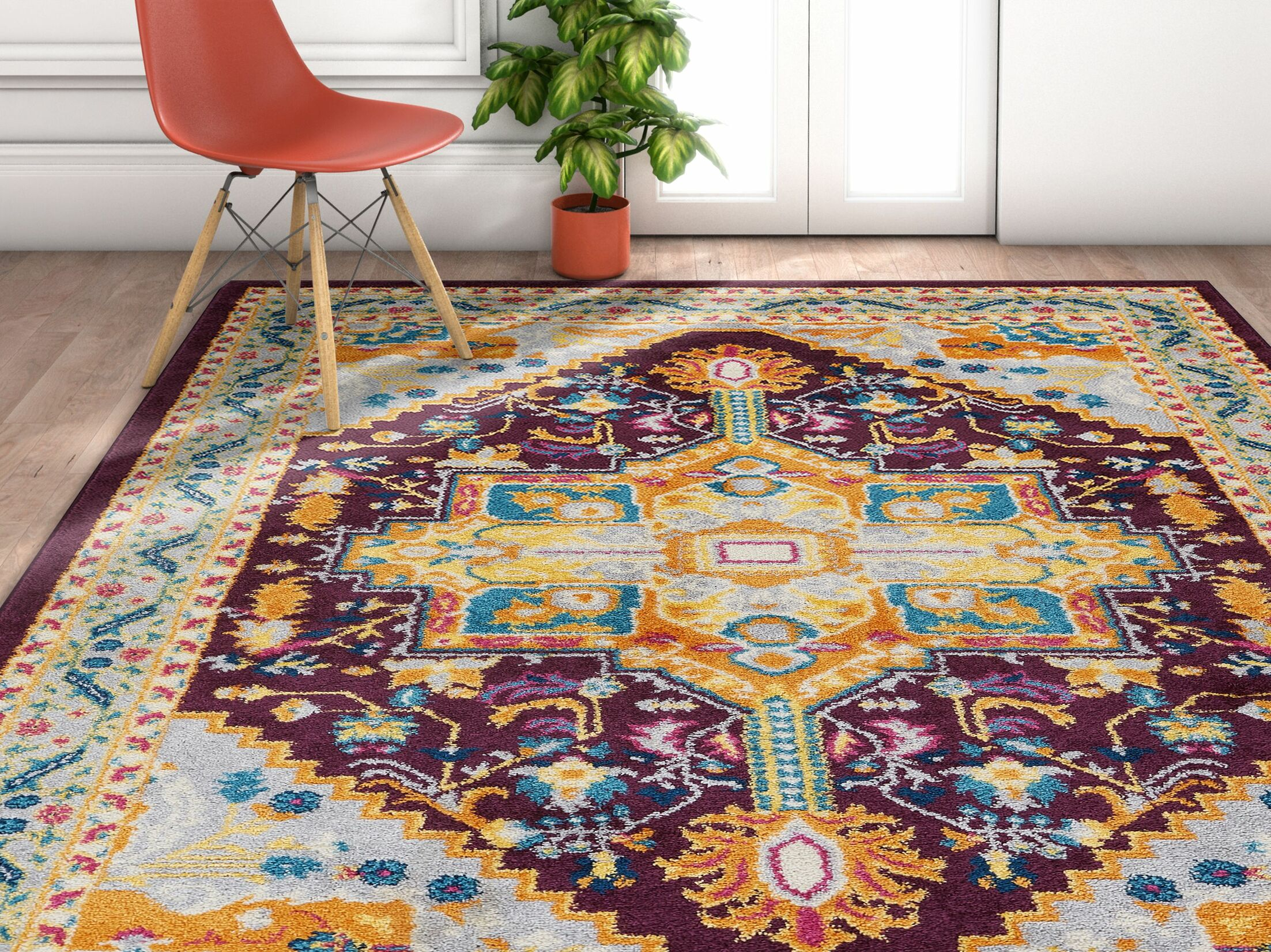 Ceri Vintage Authentic Medallion Distressed Purple Area Rug Rug Size: Rectangle 5'3