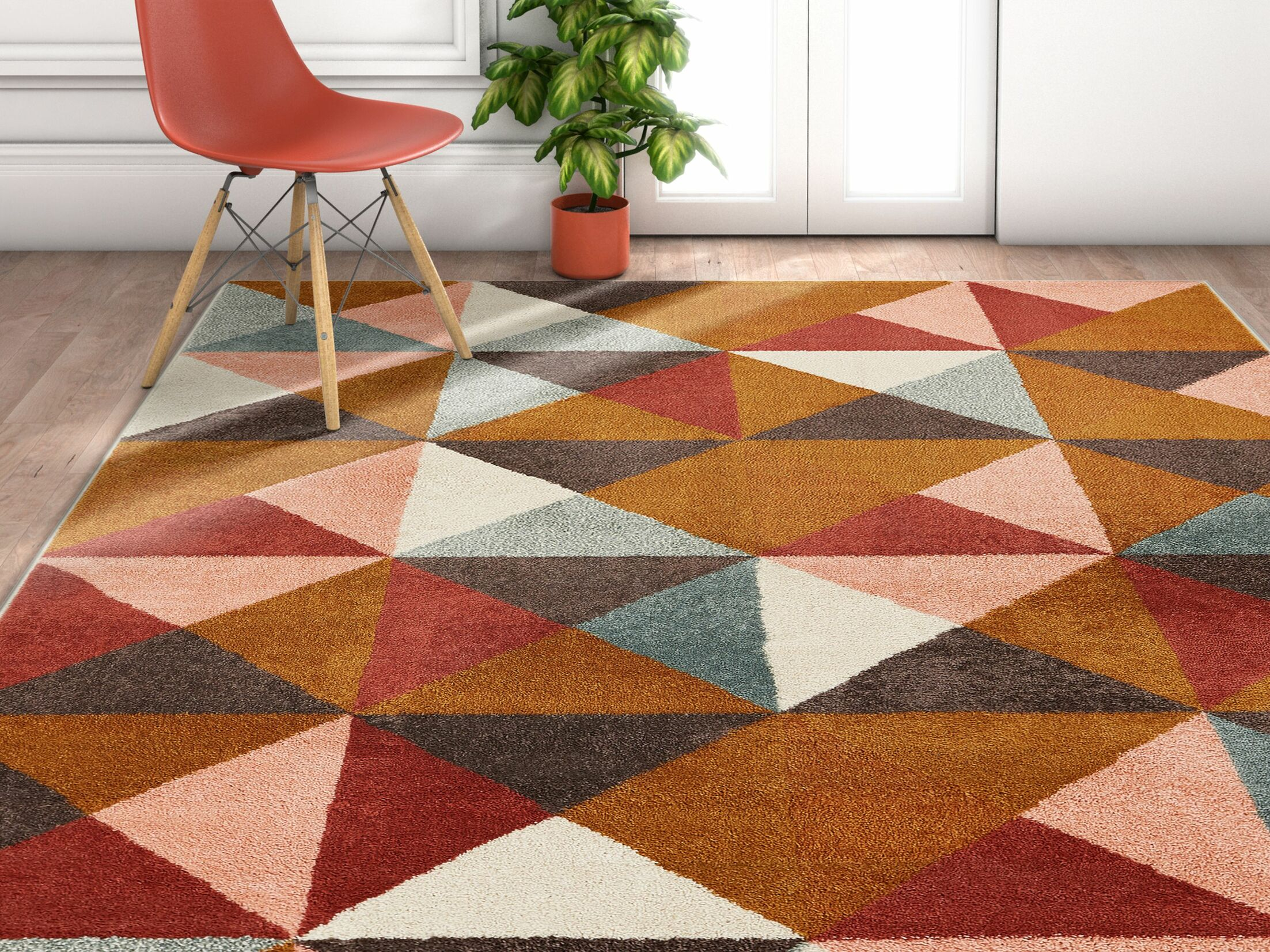 Camren Geometric Triangles Brown/Gray Area Rug Rug Size: Rectangle 5'3