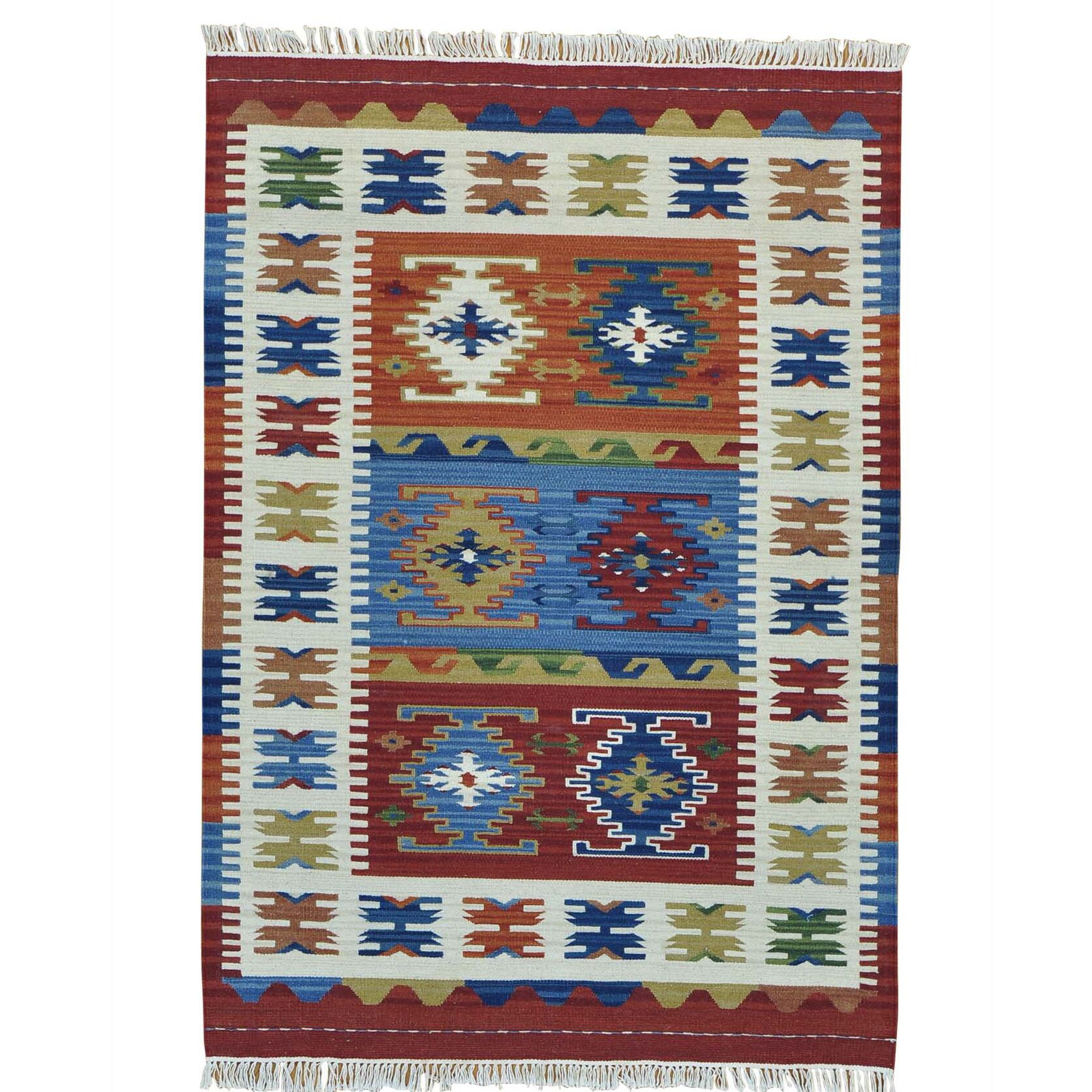 Reversible Flat Weave Anatolian Kilim Oriental Hand-Knotted Maroon/Cream Area Rug