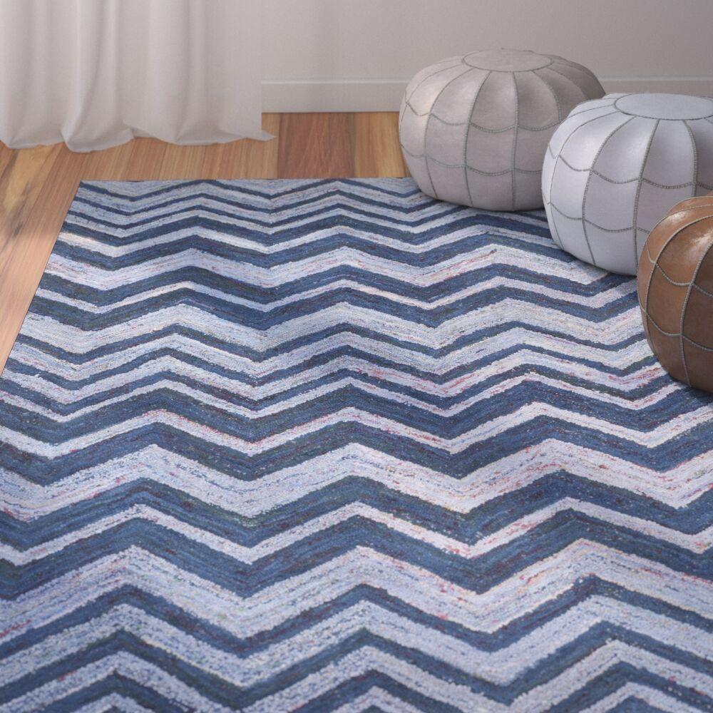 Anaheim Hand-Woven Cotton Blue Area Rug Rug Size: Rectangle 6' x 9'