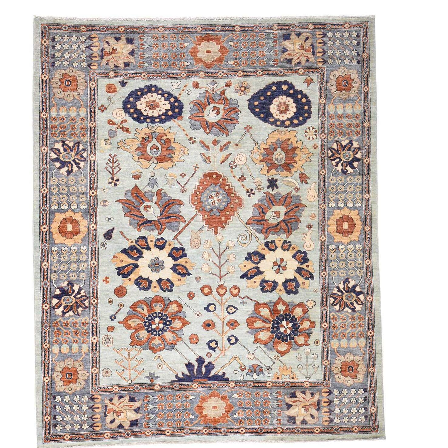 One-of-a-Kind Lavendon Sultanabad Hand-Knotted Sky Blue Area Rug