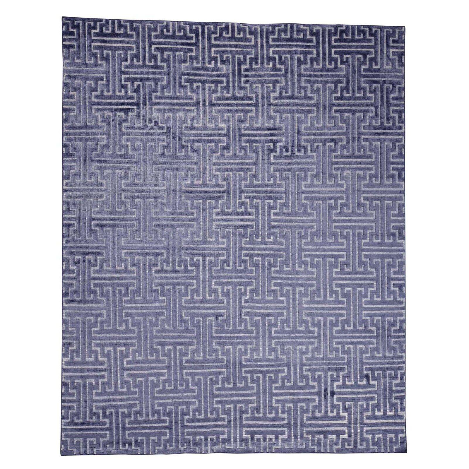 Oidized Maze Oriental Hand-Knotted Silk Blue Area Rug