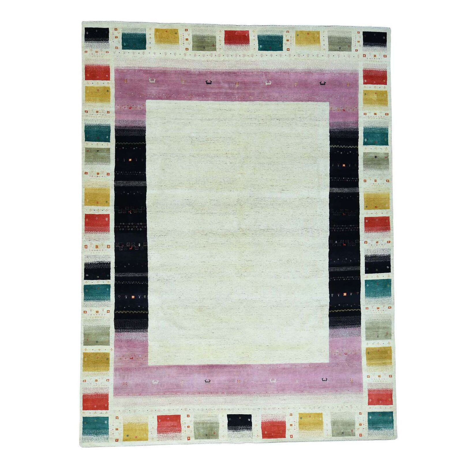 One-of-a-Kind Goza Lori Hand-Knotted Ivory Area Rug