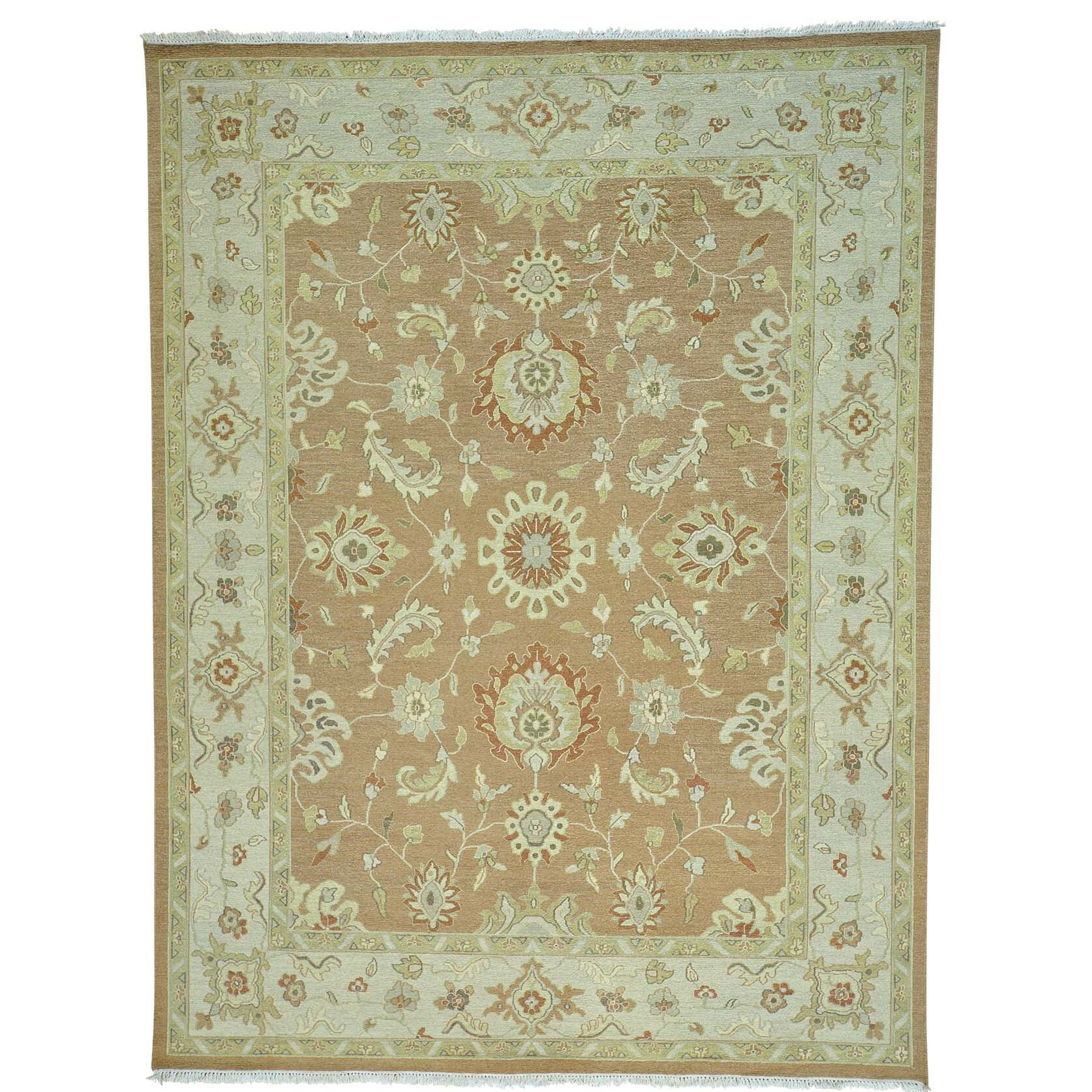 One-of-a-Kind Flat Weave Soumak Hand-Knotted Honey Brown Area Rug