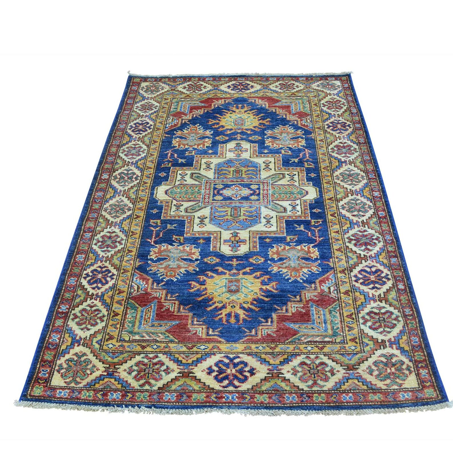 One-of-a-Kind Latimore Sarouk Mir Overdyed Vintage Hand-Knotted Denim Blue/Ivory Area Rug