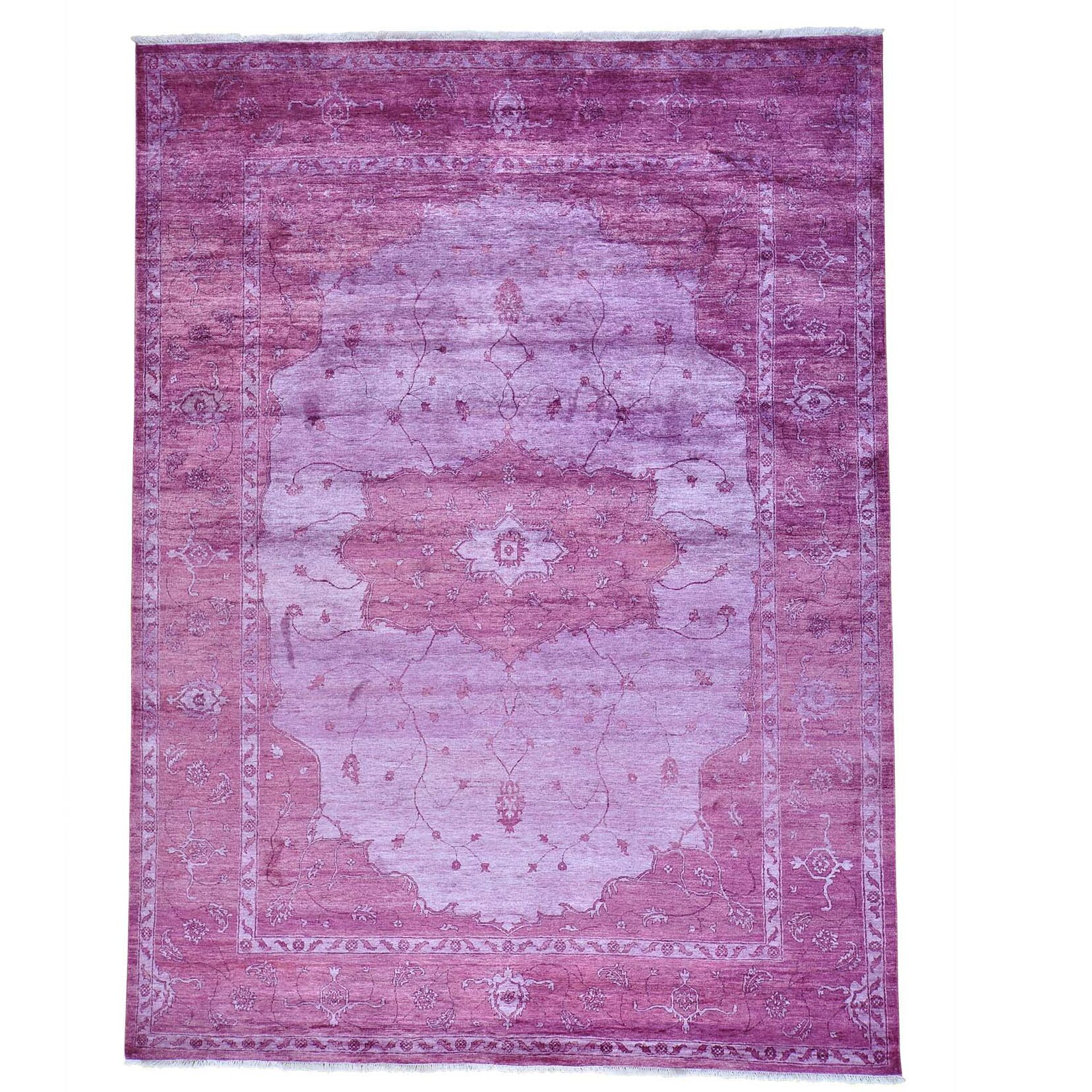 Tone on Tone Overdyed Oriental Hand-Knotted Purple Area Rug