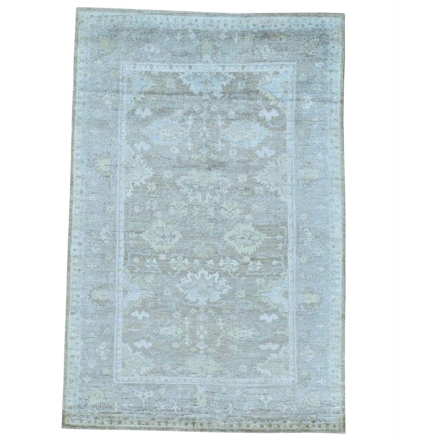 One-of-a-Kind Kating Natural Dyes Hand-Knotted Taupe/Sky Blue Area Rug