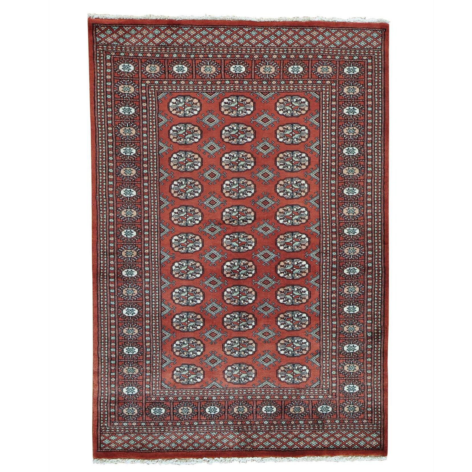 One-of-a-Kind Elephant Bokara Hand-Knotted Red Area Rug