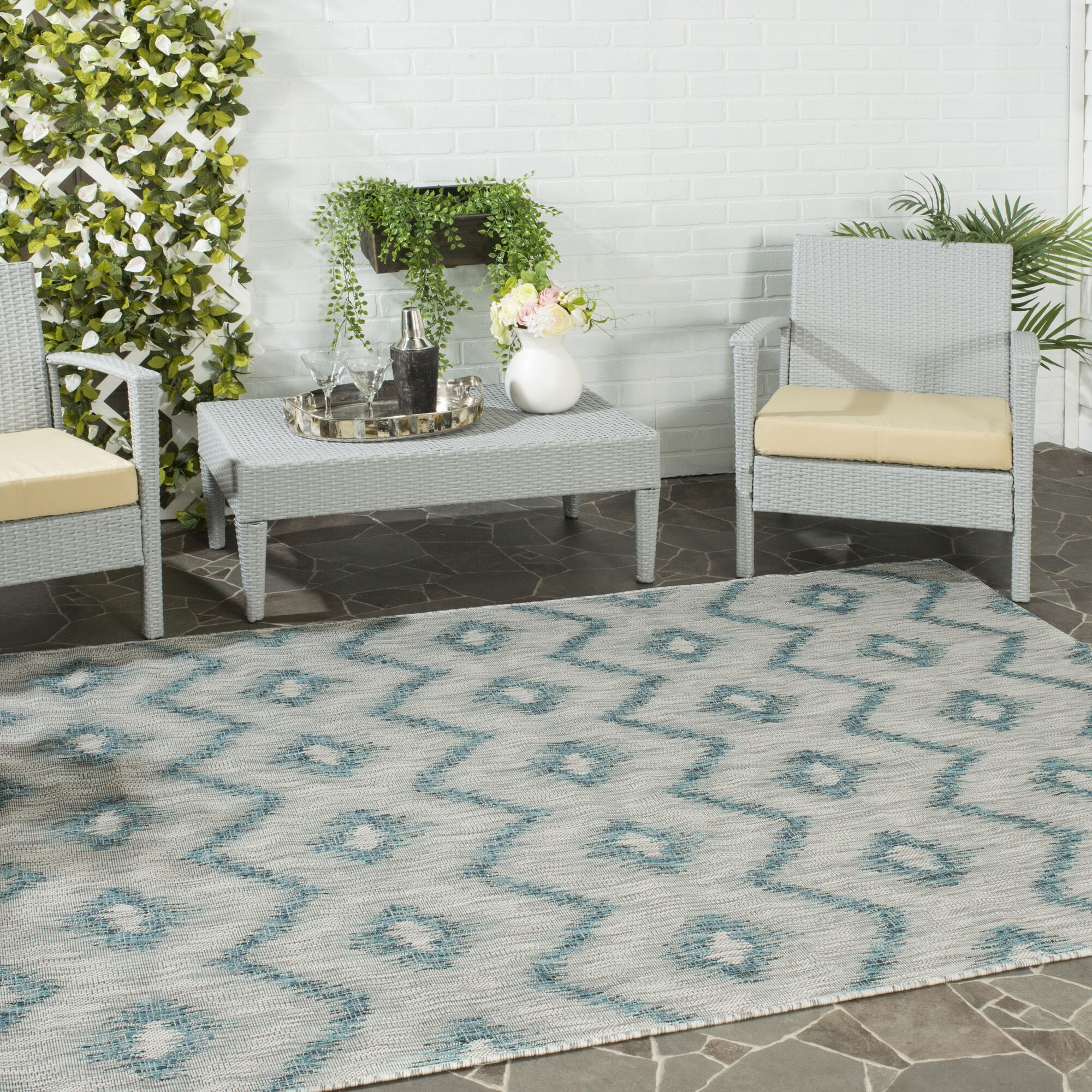 Mcguffin Gray/Blue Indoor/Outdoor Area Rug Rug Size: Rectangle 5'3