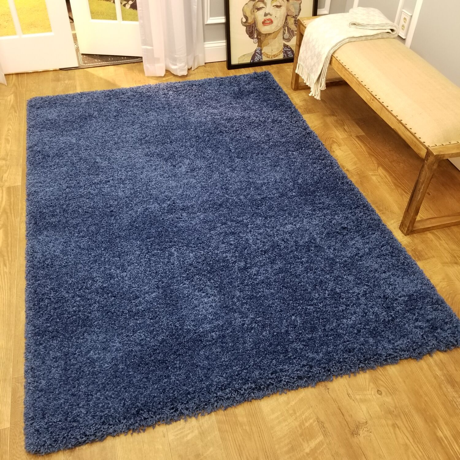 Burns Solid Navy Area Rug Rug Size: Rectangle 6'7