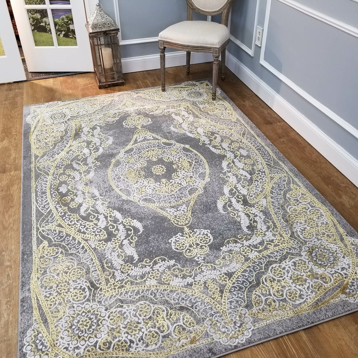 Wintergreen Silky Kingdom Gray/White Area Rug Rug Size: Rectangle 8'2