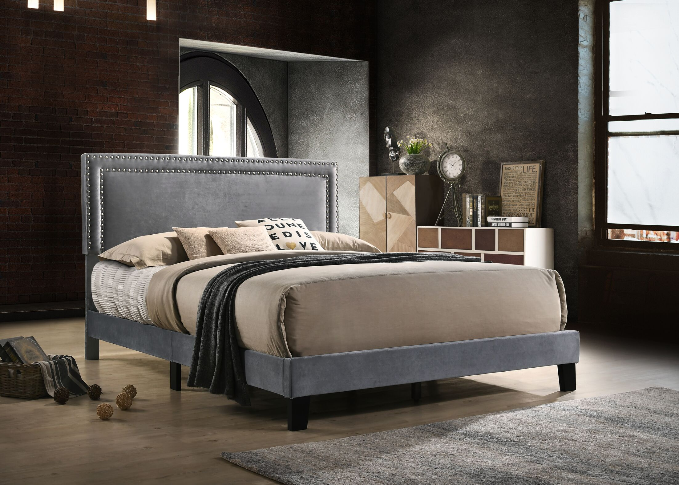 Mccants Upholstered Panel Bed Color: Gray, Size: Queen