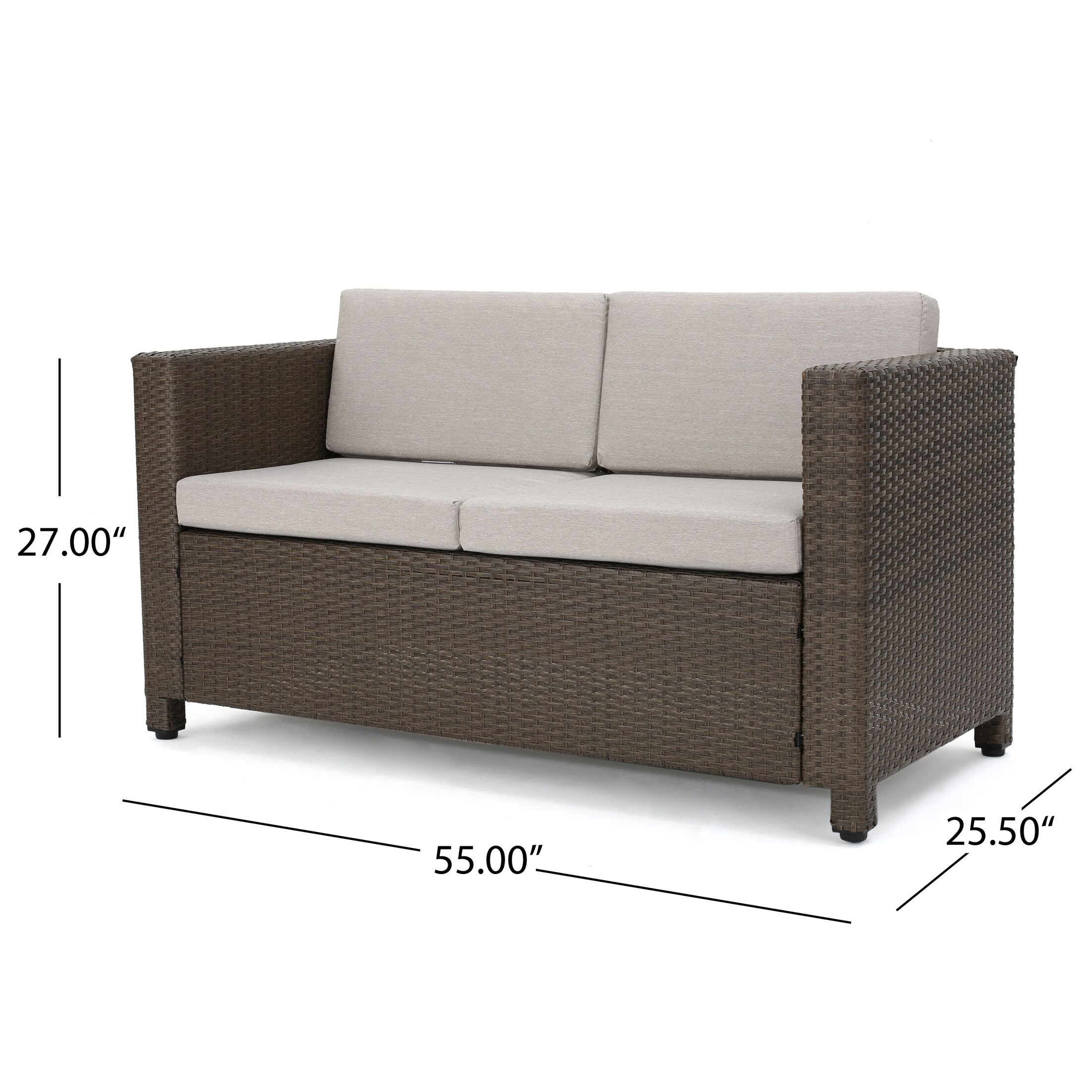 Ardal Outdoor Rattan Loveseat and Table Set with Cushions Frame Finish: Brown, Cushion Color: Ceramic Grey